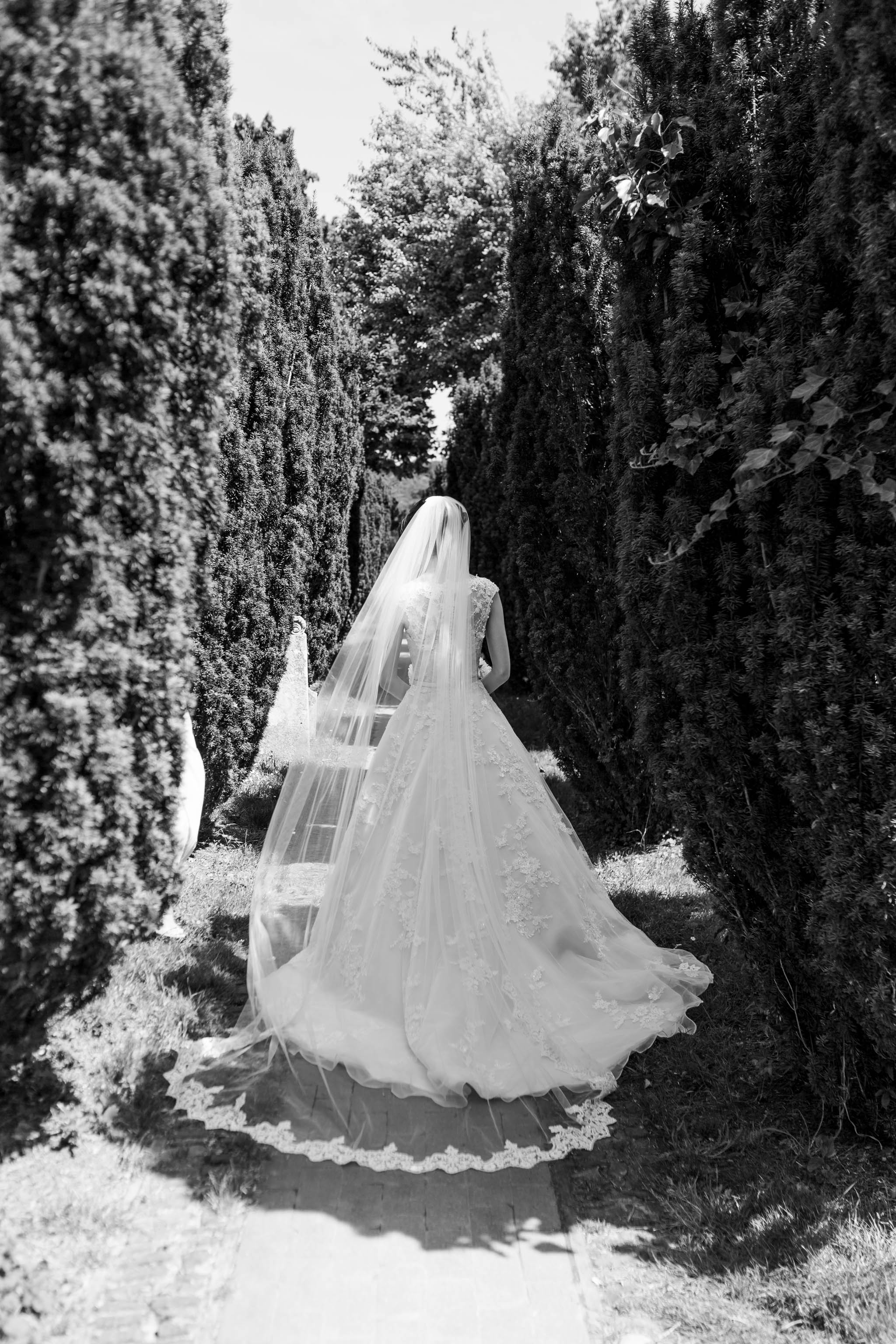 back of brides vintage dress with lace cathedral veil