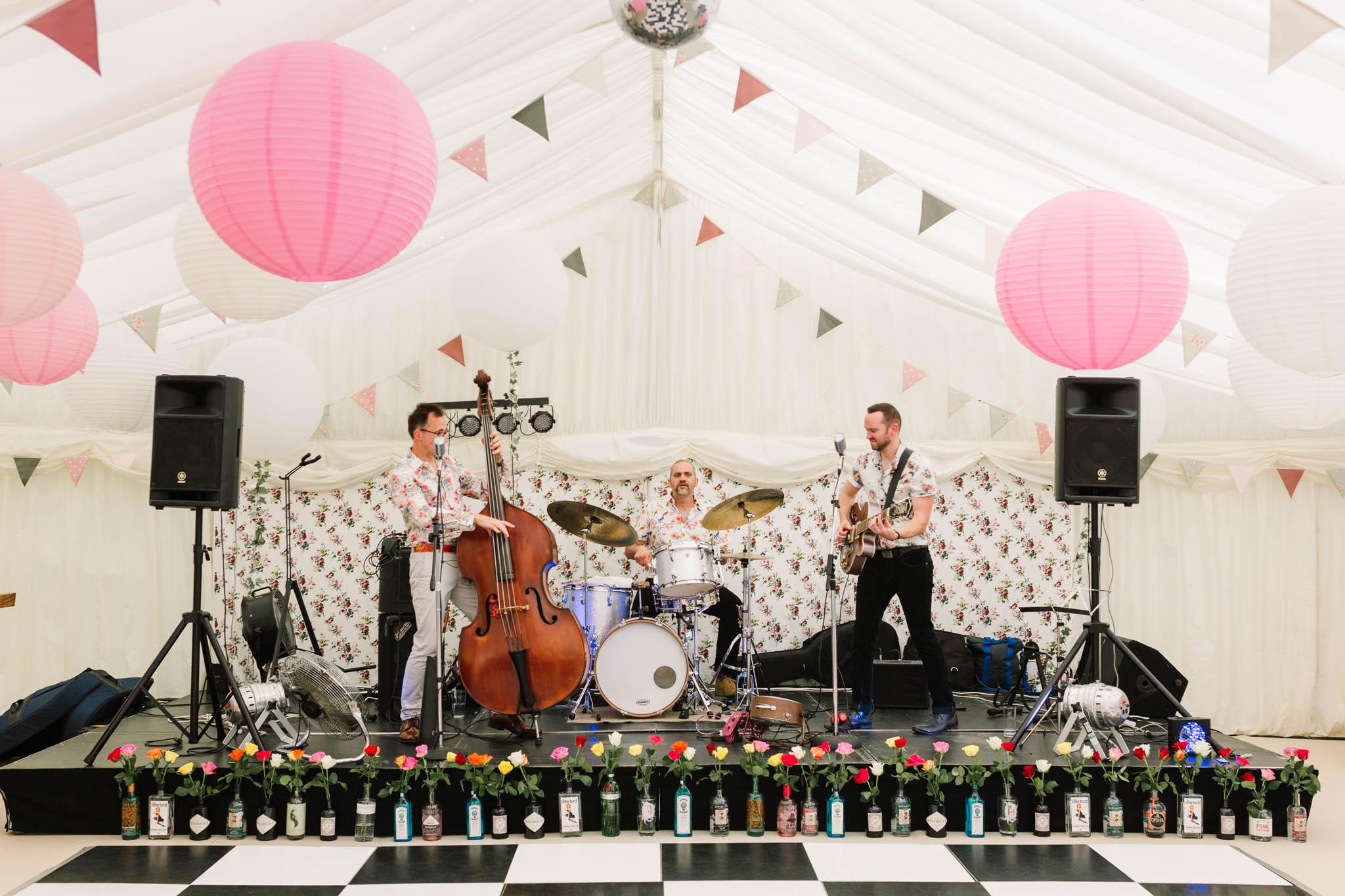 jazz band playing at alice in wonderland wedding