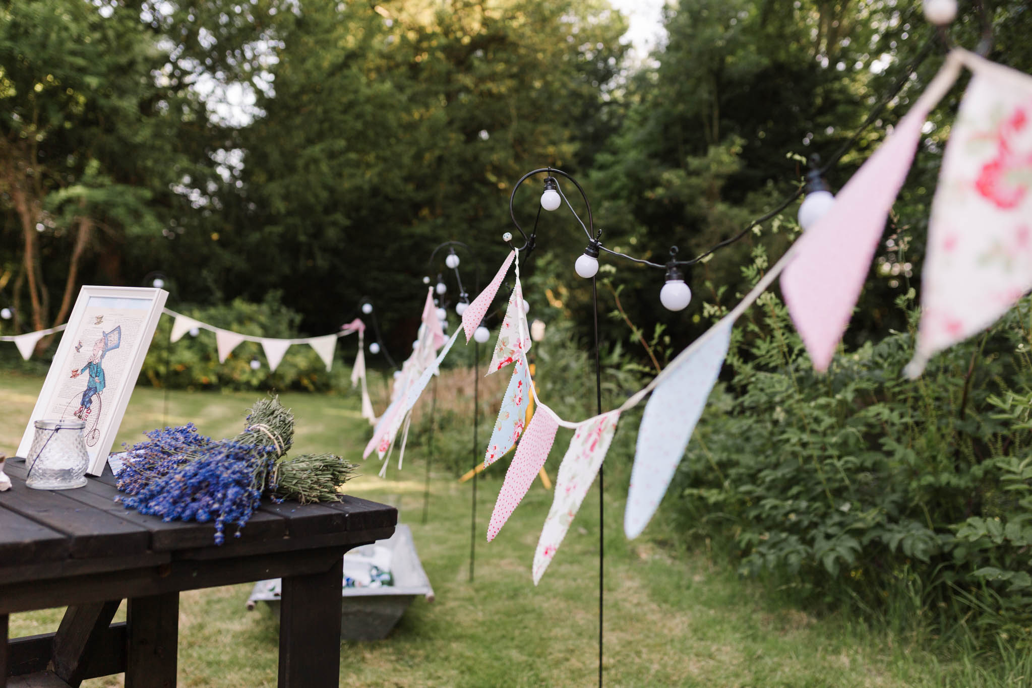 vintage style bunting at alice in wonderland wedding