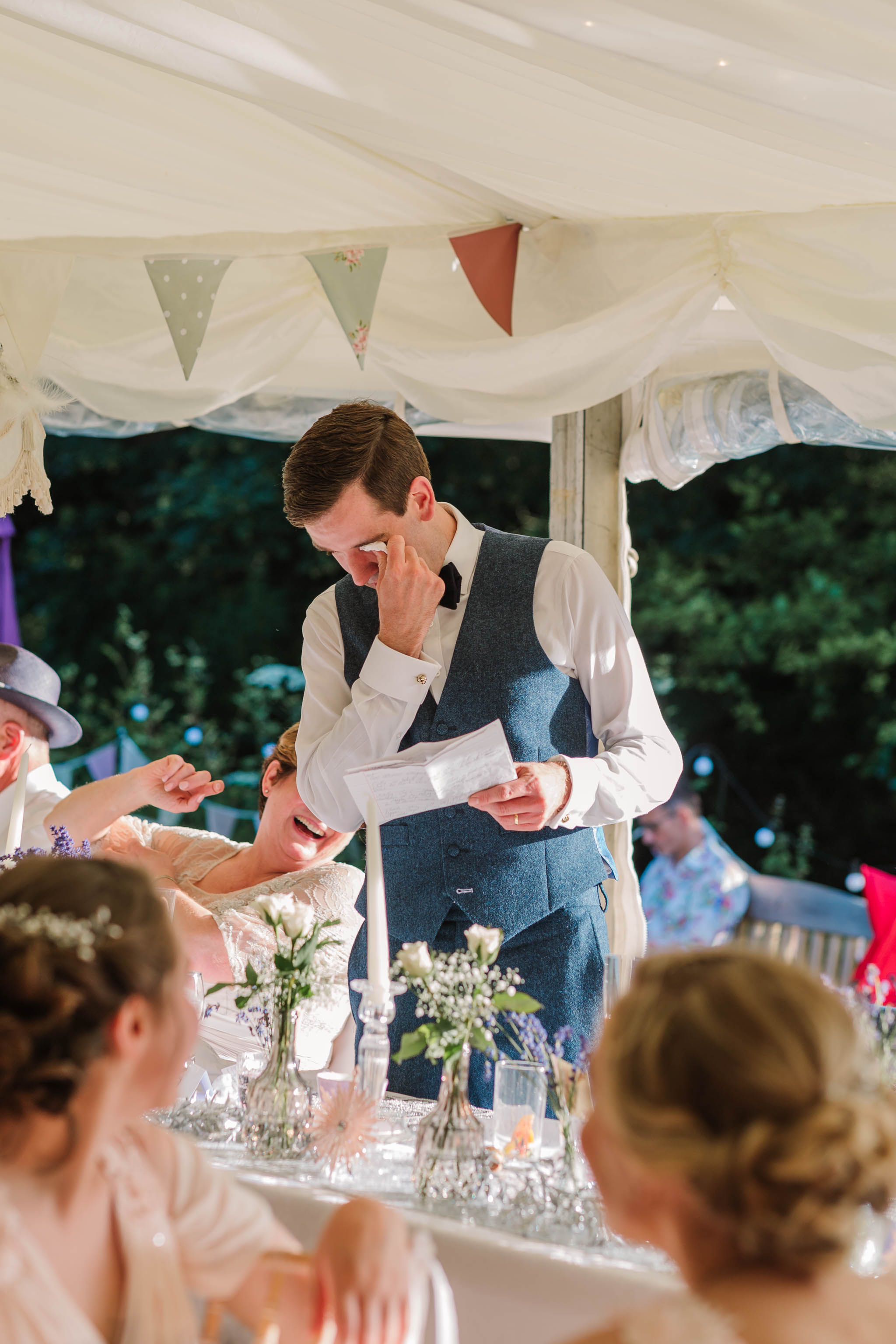 groom crying during speech