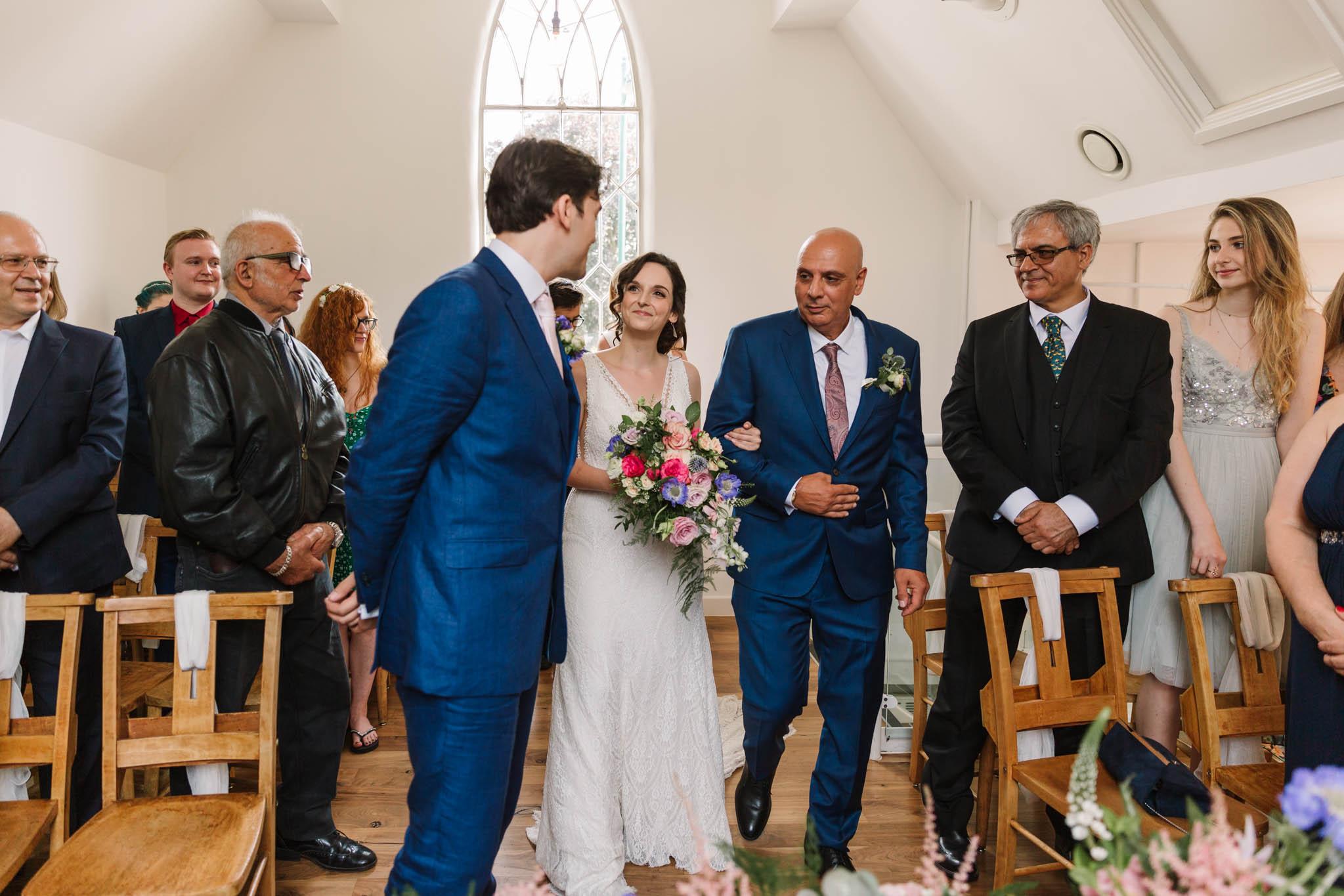 dad walking daughter down the aisle- Old parish rooms wedding