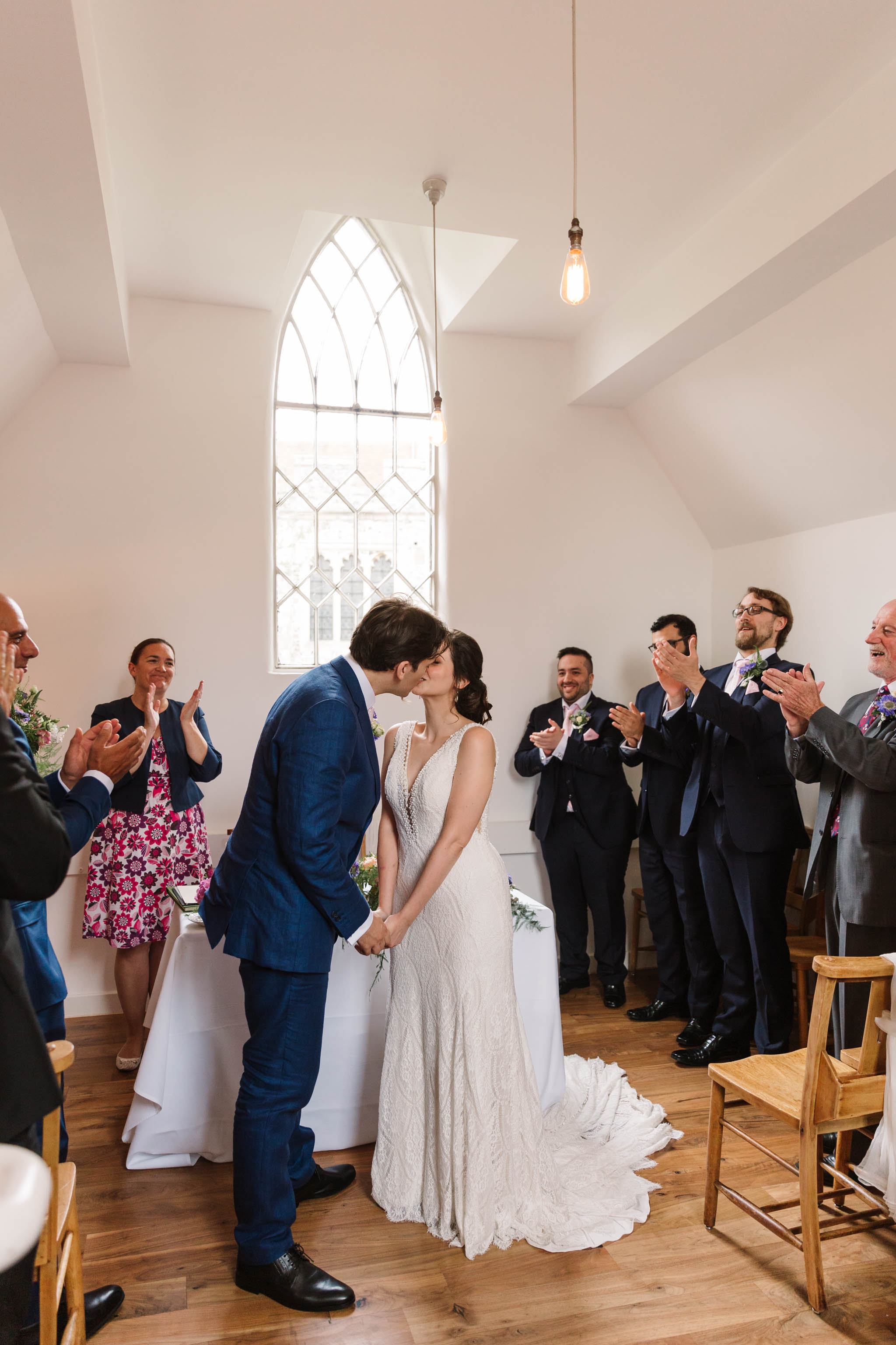 bride and groom's first kiss - old parish rooms