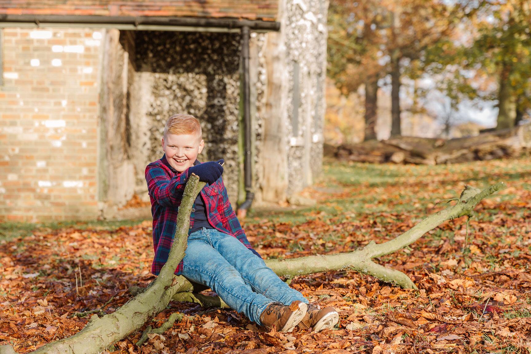 little boy sitting on branch in autumn