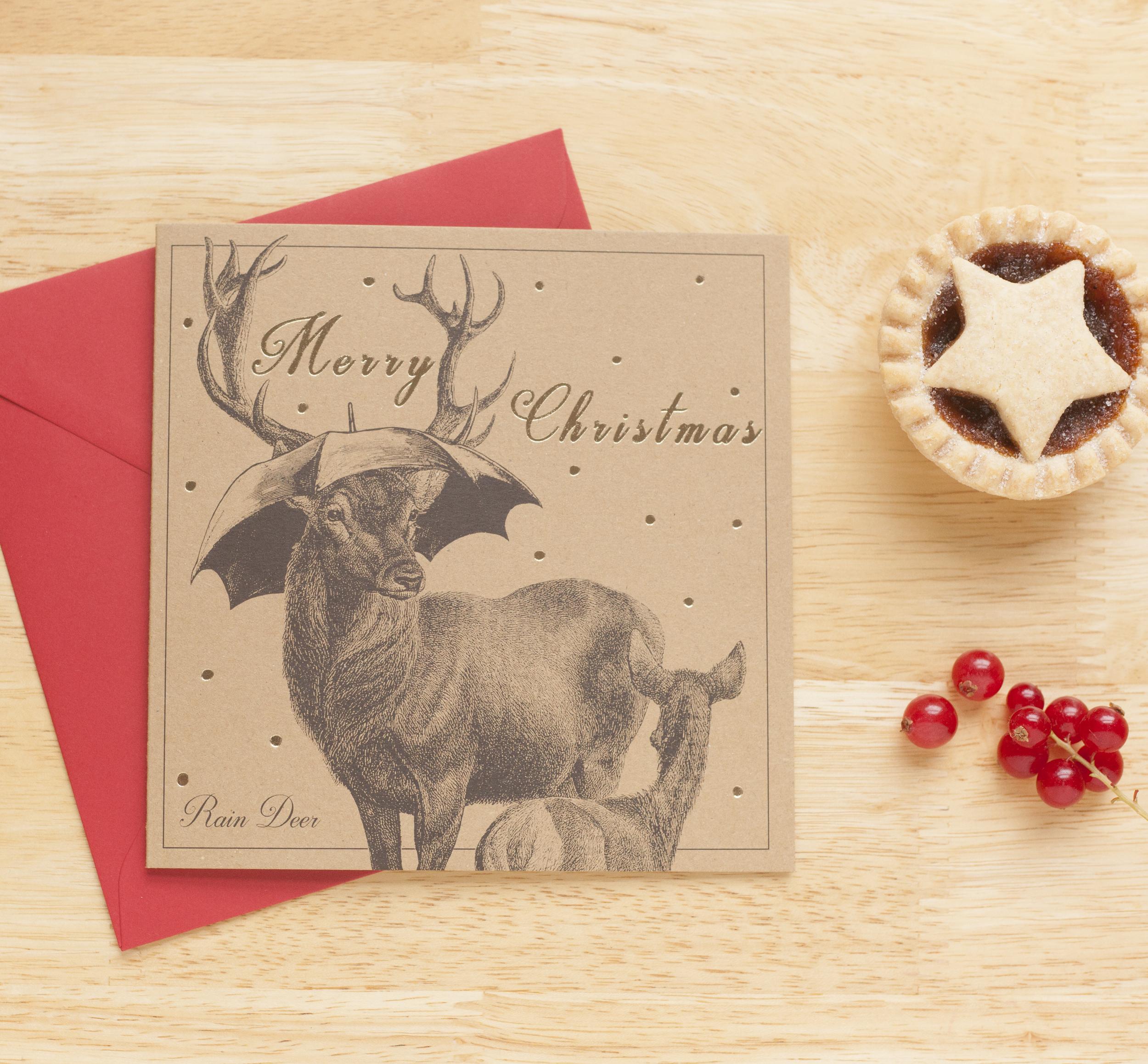 'Rain Deer' Xmas Card