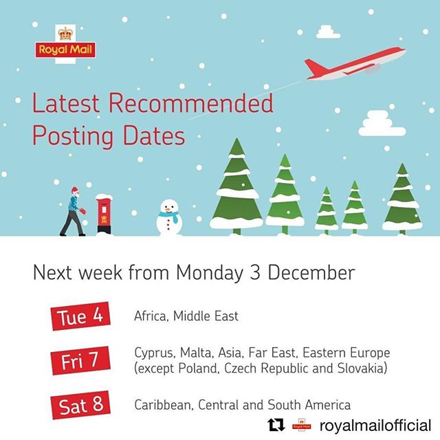 If you have family/ friends abroad here's a little nudge about last postage dates. Don't get caught out!#Repost @royalmailofficial with @get_repost ・・・ We've got some latest recommended posting dates coming up next week for many popular international destinations. For more information on specific countries, please visit ms.spr.ly/ukpt