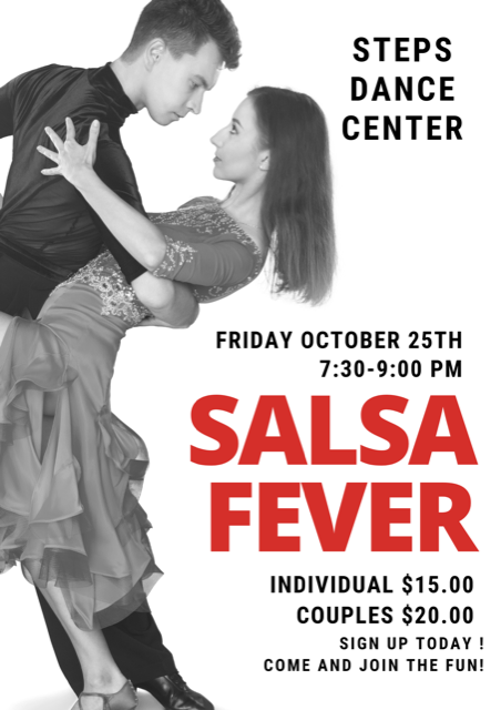 They say dance is the SPICE OF LIFE! Come and Join us for our Salsa Fever night! Great for all Levels! It's great for couples but can also be great for singles looking for a fun night out! The class is for ages 18 & up so leave the Kiddos at home and be prepared to have a blast! Register in the Link Below!