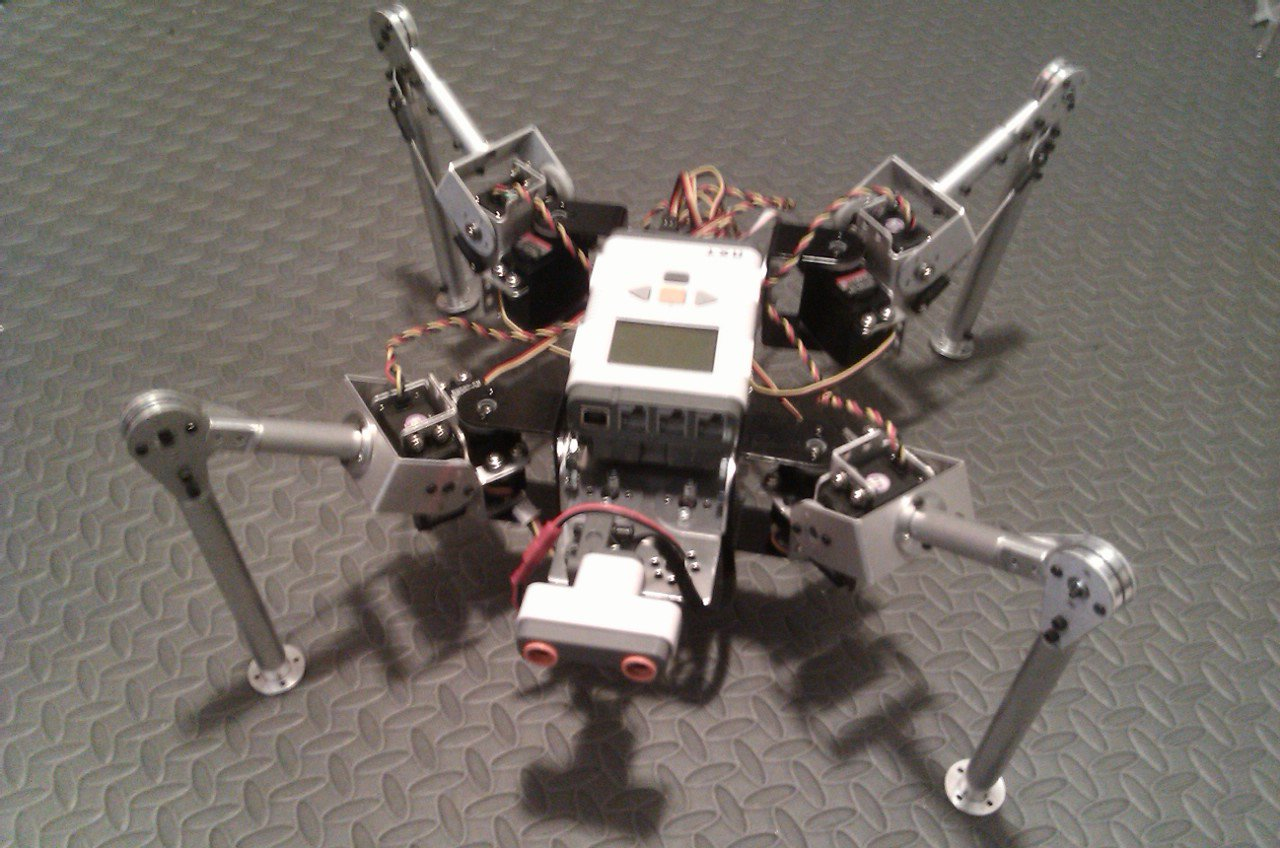 LEGO Mindstorms NXT - 2DOF quadruped with Mindsensor 8 servo controller.
