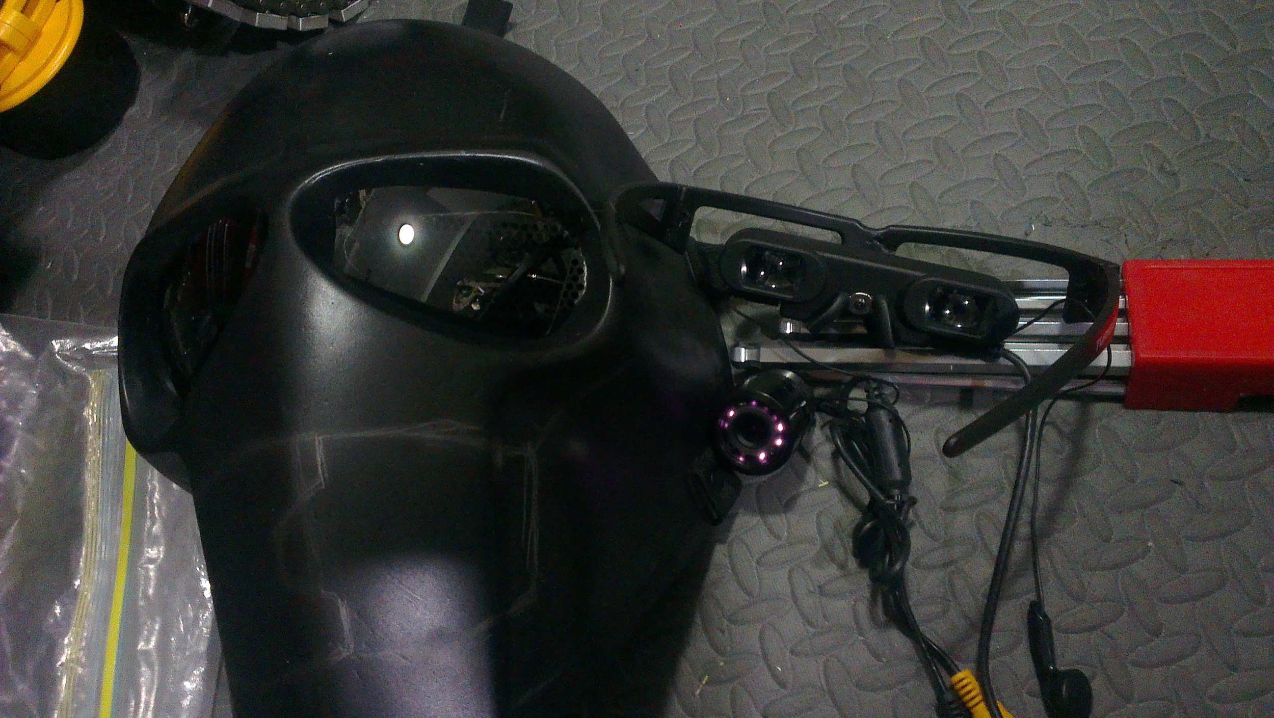 Back camera display on glasses display inside face plate.
