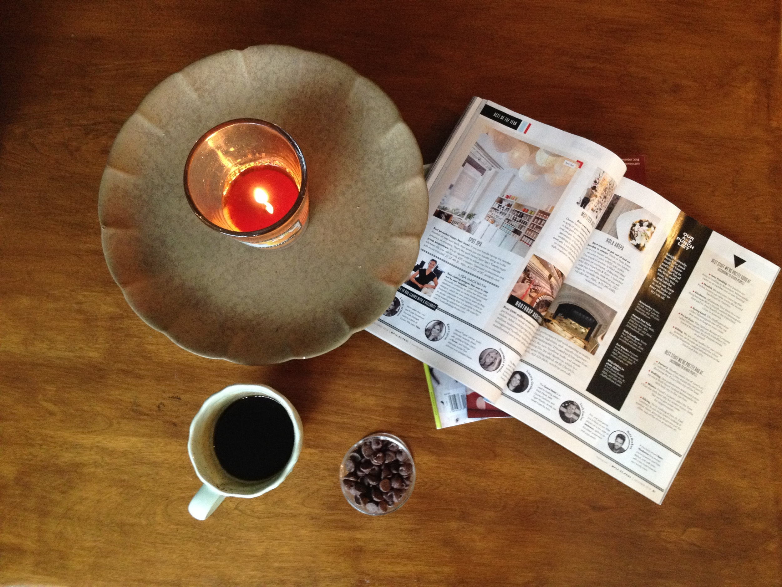 Candle + coffee + chocolate chips + mags = happy Sunday morning