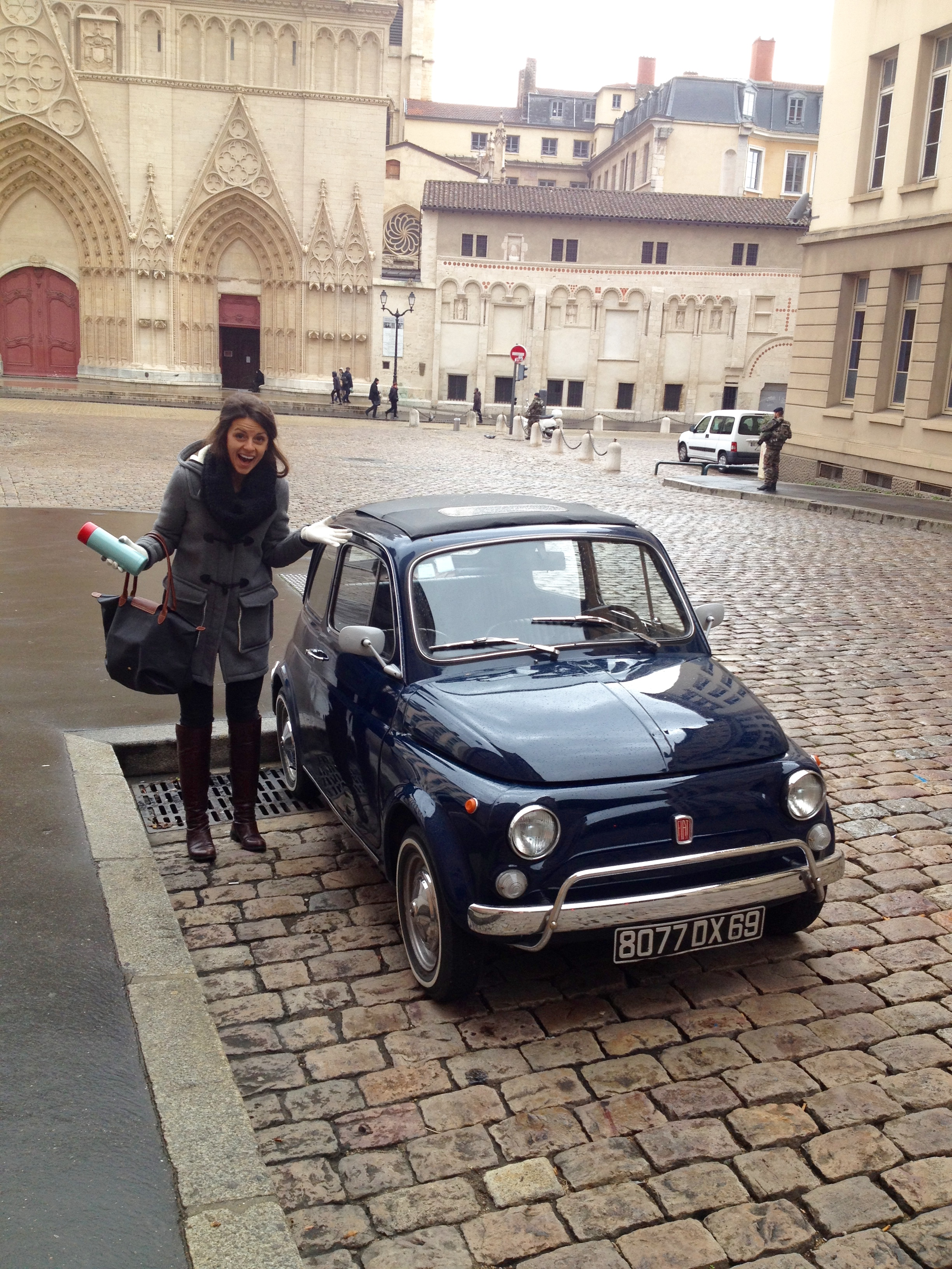 We came across this adorable little Fiat in front of the Cathédrale Saint-Jean and couldn't resist snapping a pic.