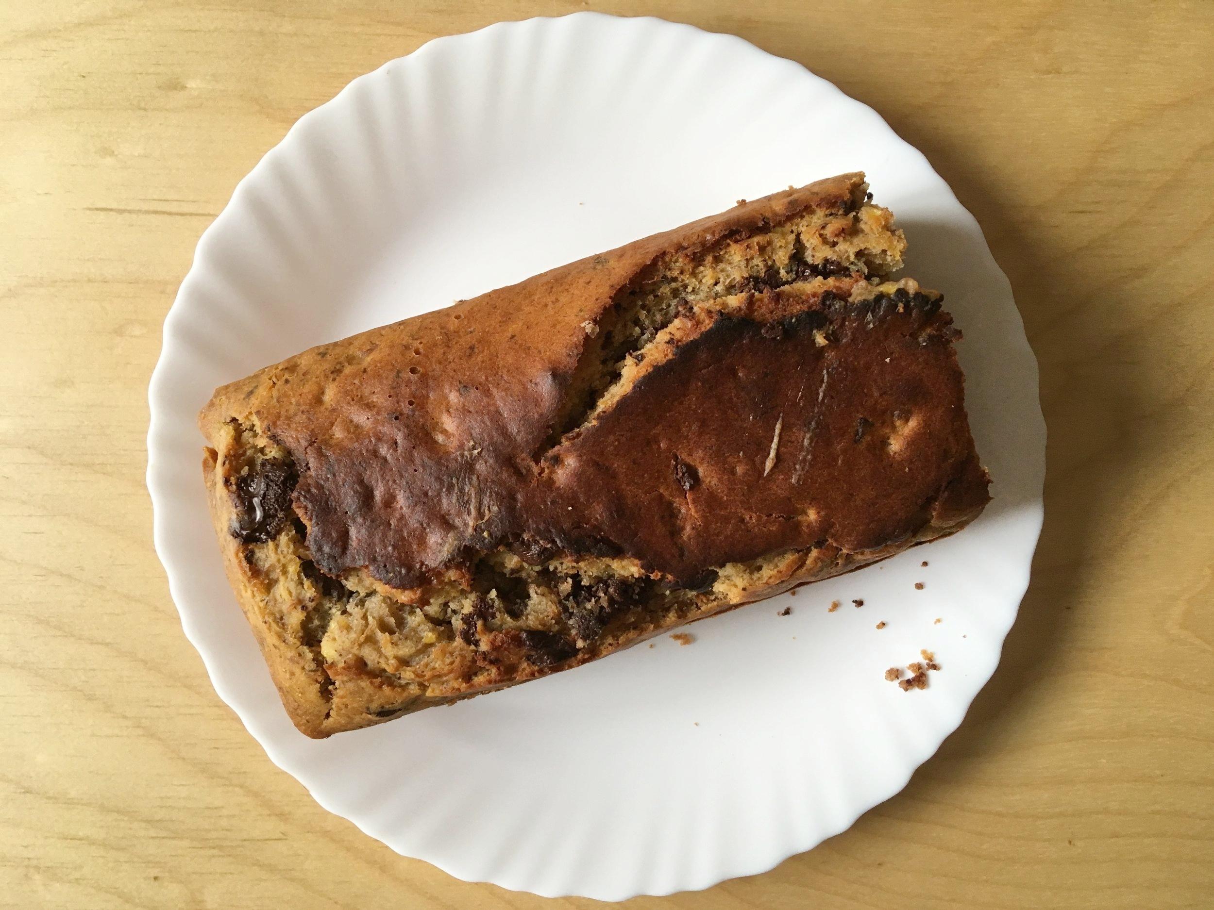 Chocolate Chip Banana Bread: delicious even when you burn it!