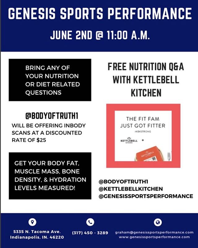 This Saturday @ 11am! Come to Genesis for a free nutrition workshop with @kettlebellkitchen. @bodyoftruth1 will be offering in body scans for a discounted rate. Anyone is welcome!
