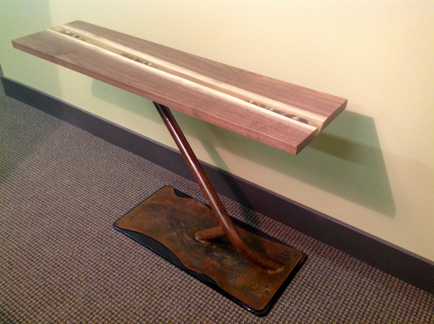 Steel Base Entry Table by Eau Claire Woodworks