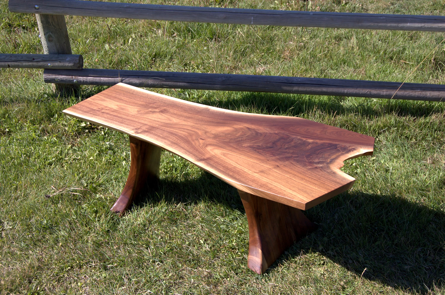 Sculpted Walnut Bench or Table by Eau Claire Woodworks