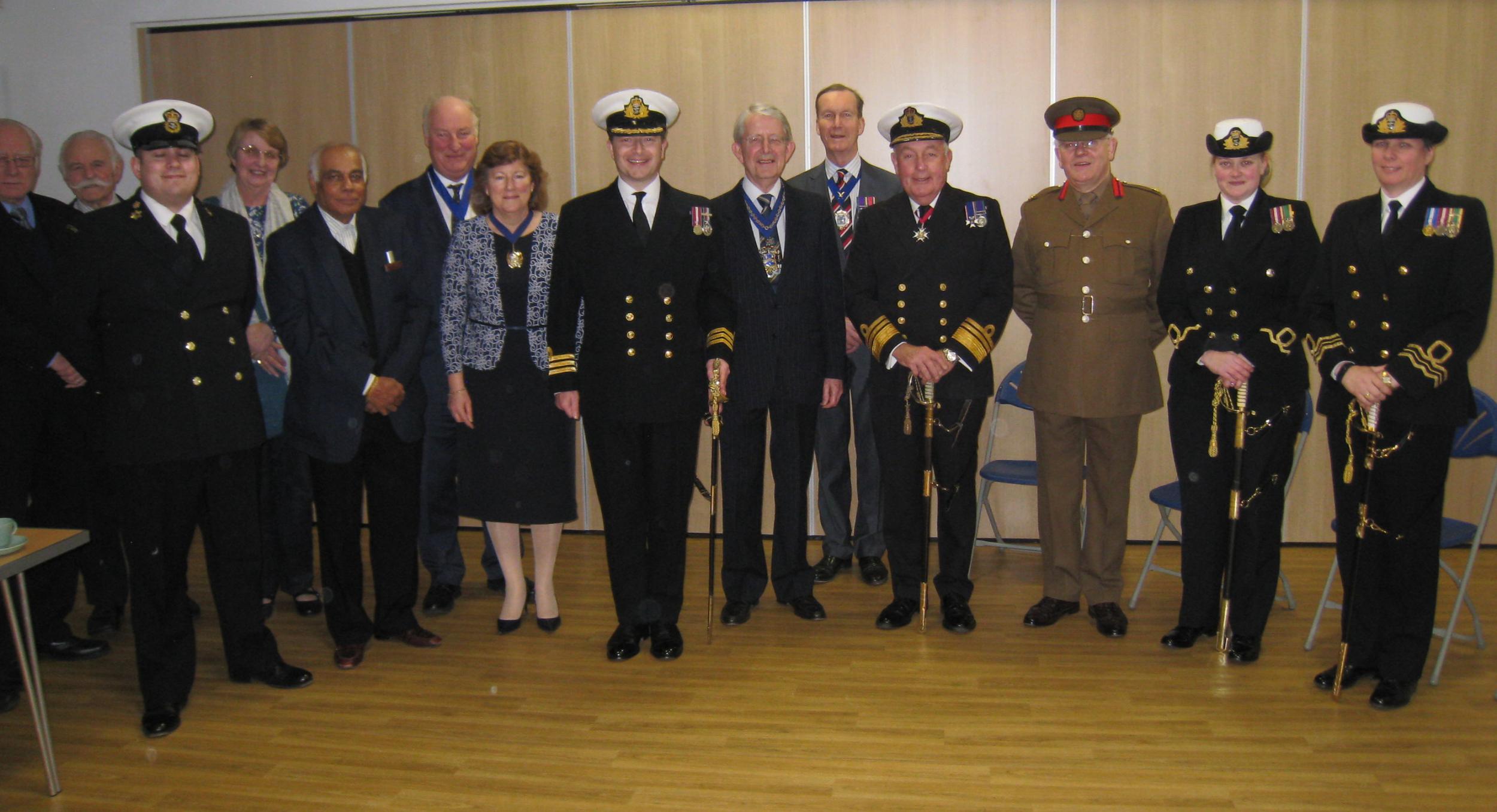 CPO D Hagger (CO TS Barrosa)/Cllr Deputy Mayor & Consort/ Inspecting Officer Cdr J Nisbet RN/Master/Clerk/President TS Barrosa-Vice Admiral J MacAnally/DL Martin Russell/Area Sea Cadet Officers