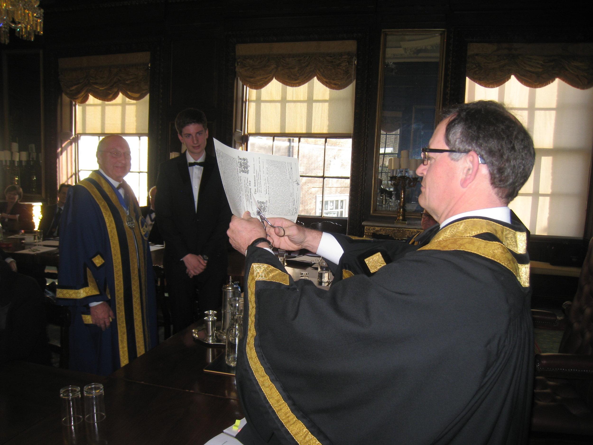 The Clerk executing Indentures to bind Thomas Cartwright to his Master M I Gunston