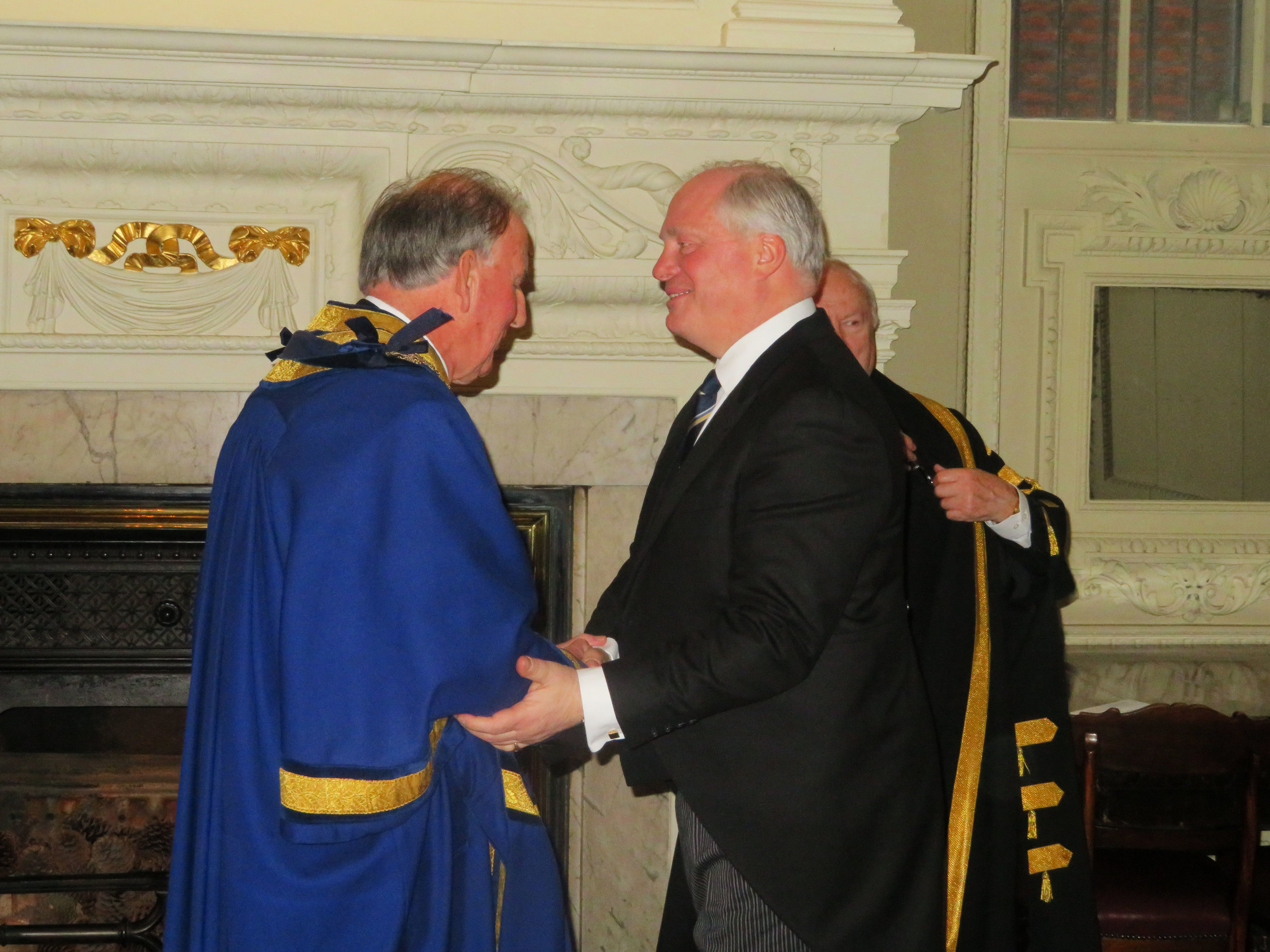 Master John Walsham being congratulated by PM Paul Constantinidi
