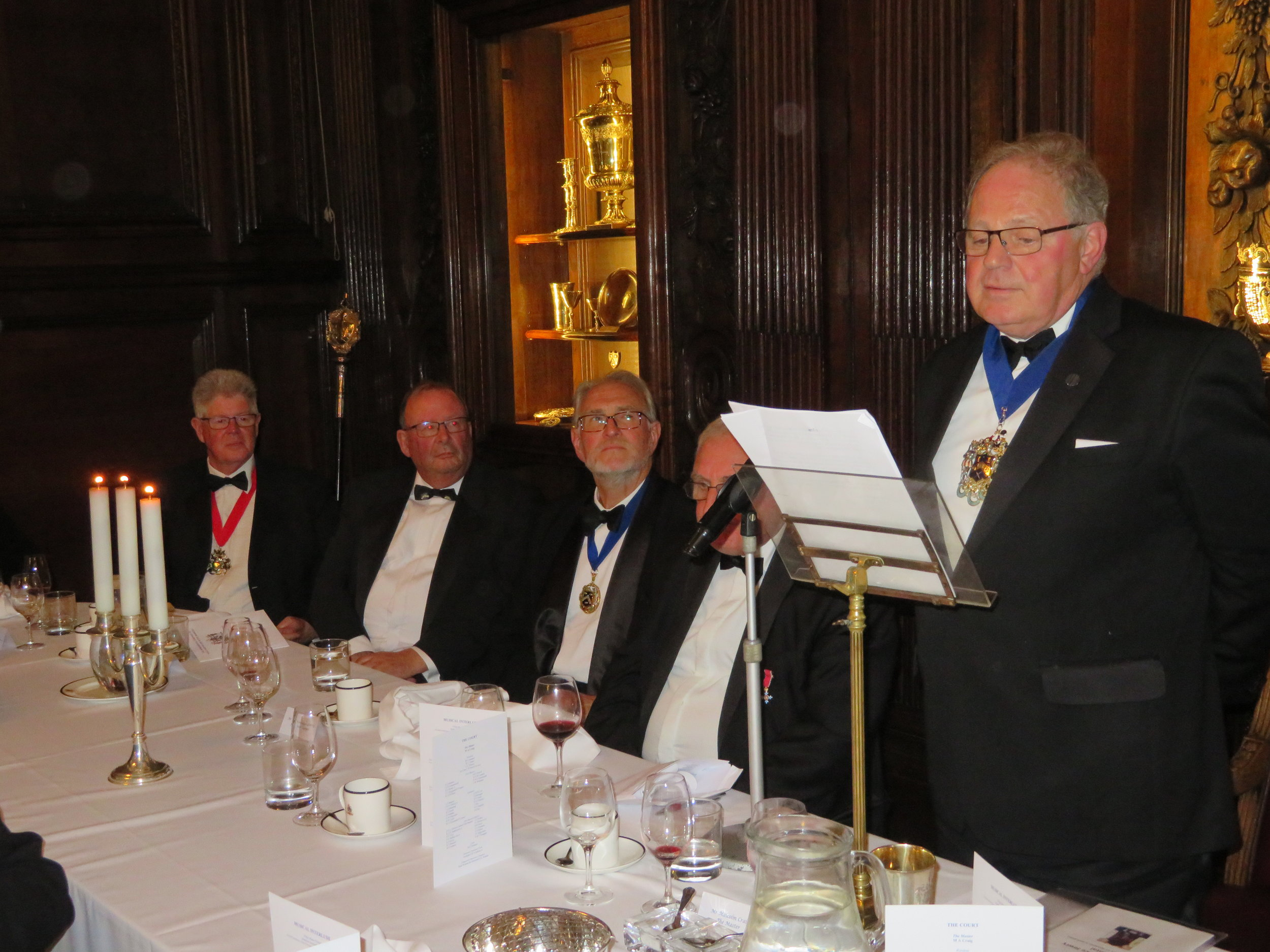 Mr Rick Alford - Master Hackney Carriage Drivers, Past Master Emeritus Tim Waller, Mr Christopher Davey - Master Vintner, Mr Tom McGrath CBE & The Master