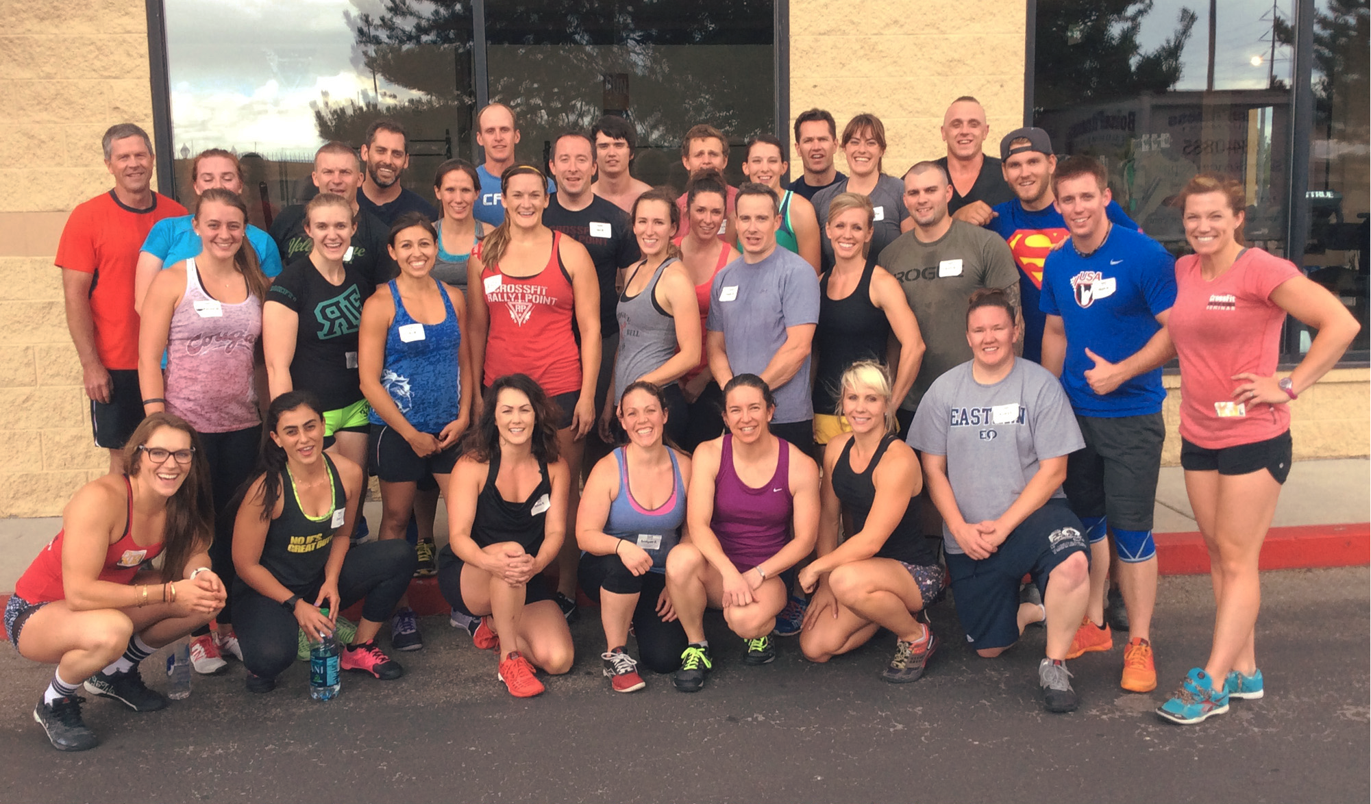 CrossFit Level 1 Class at CrossFit Rally Point. Bridgett is in the front row.