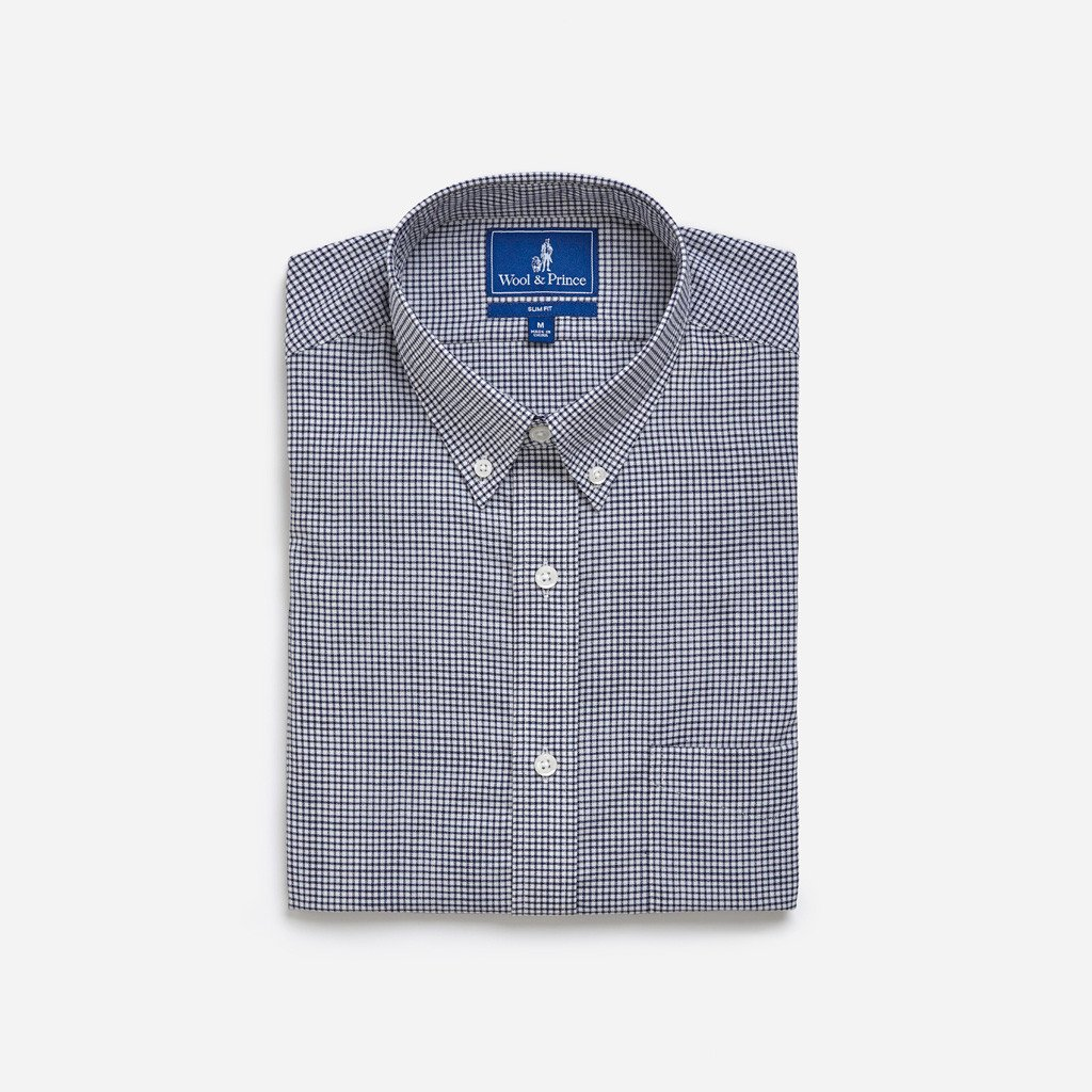 wool and prince button down navy check.jpg