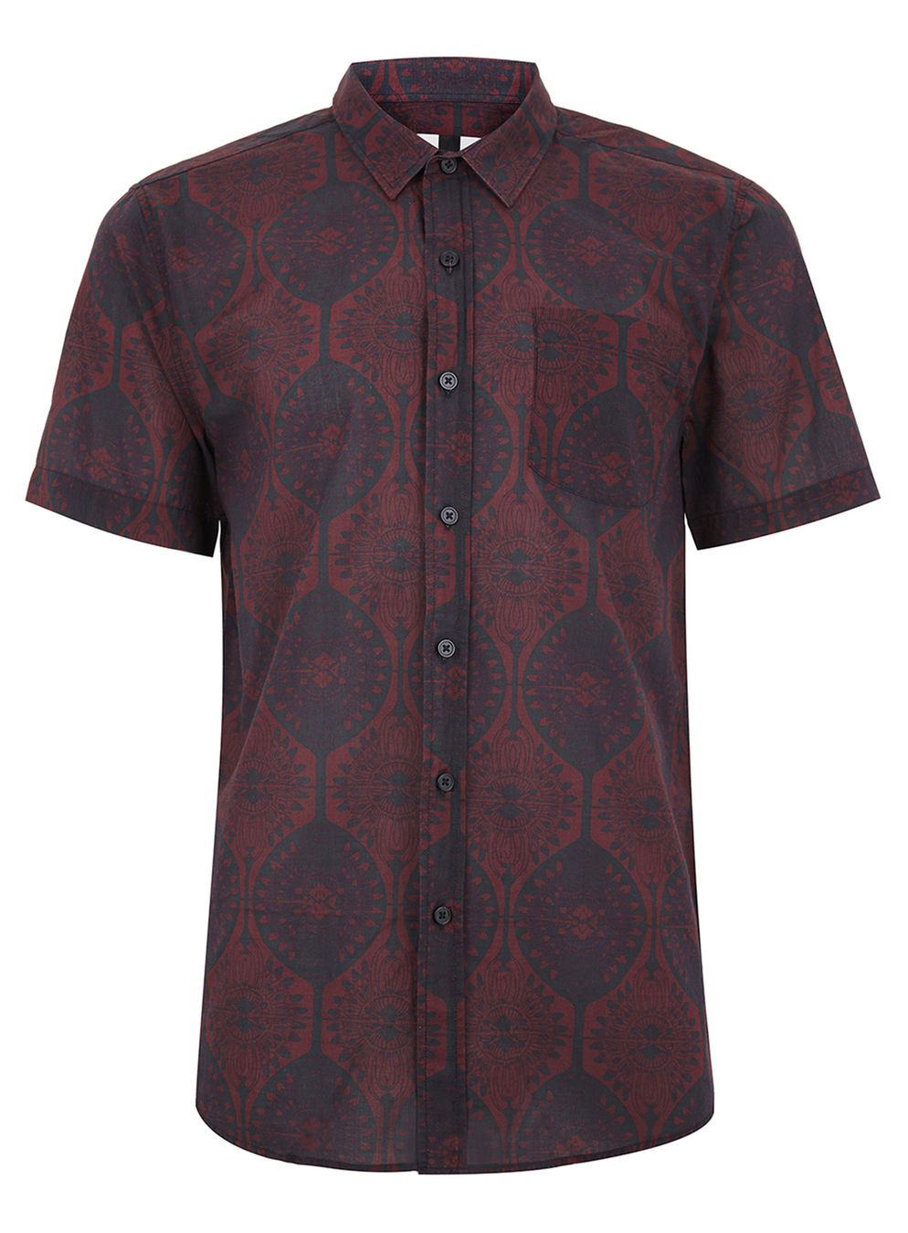 Topman men's Art deco Burgandy button down shirt