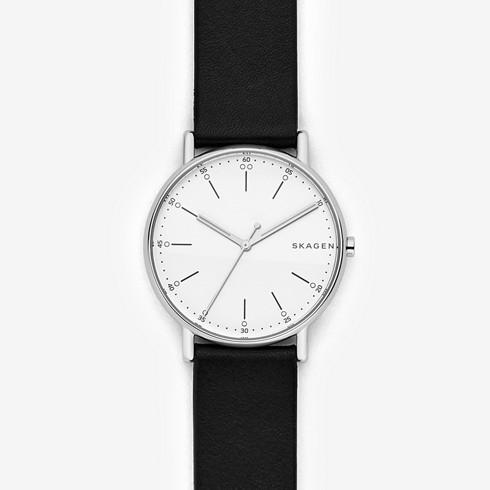 Skagen signature black leather watch.jpeg