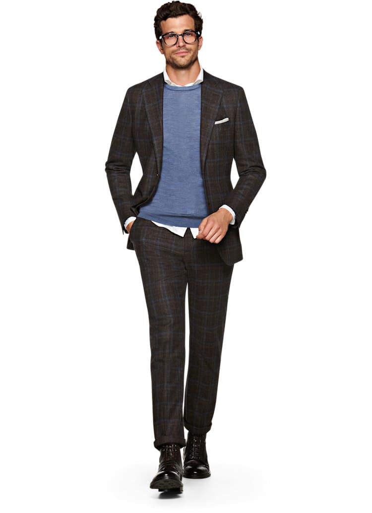 Suit Supply Lazio Brown Plaid Suit