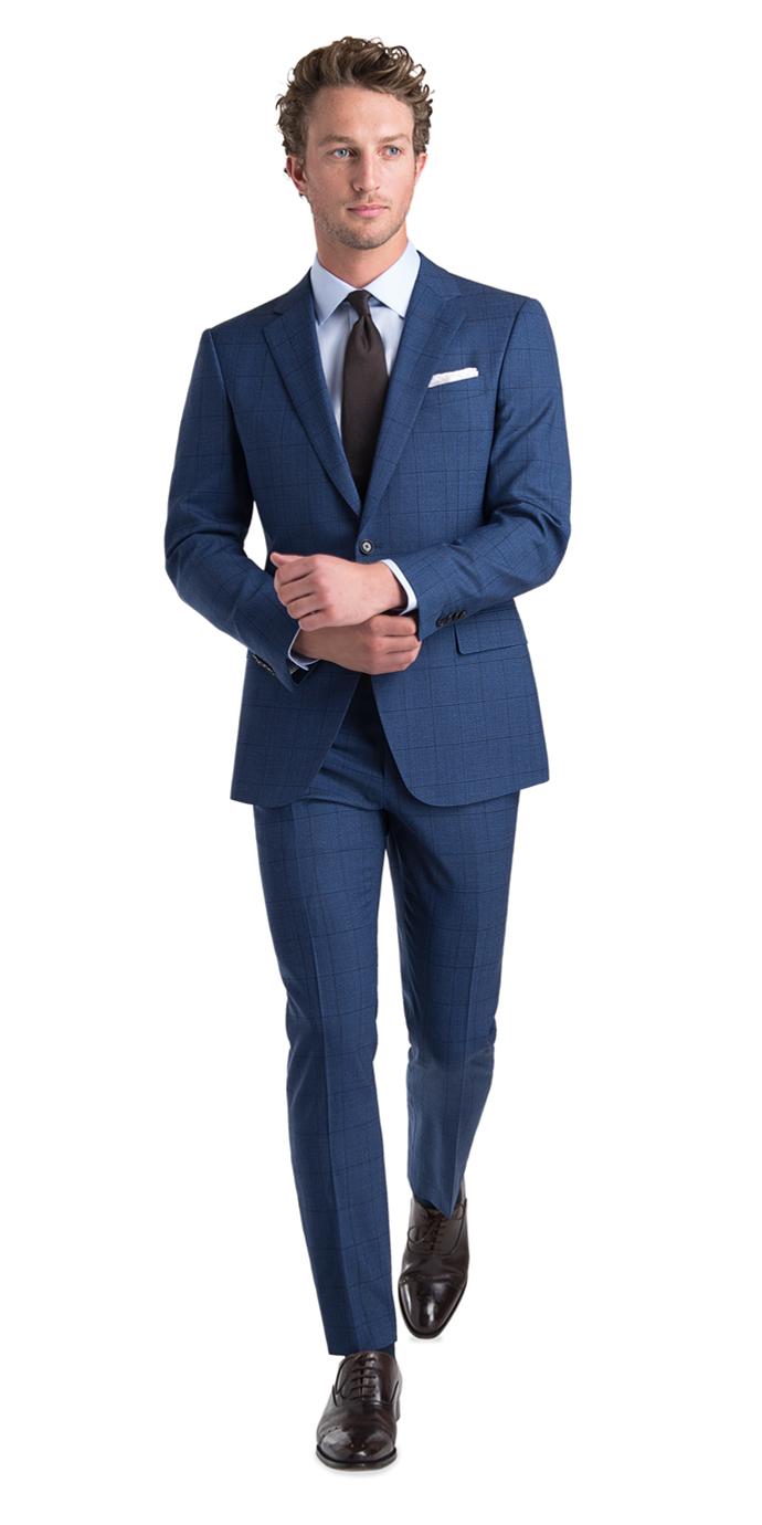 Black Lapel Blue Fresco Windowpane Suit