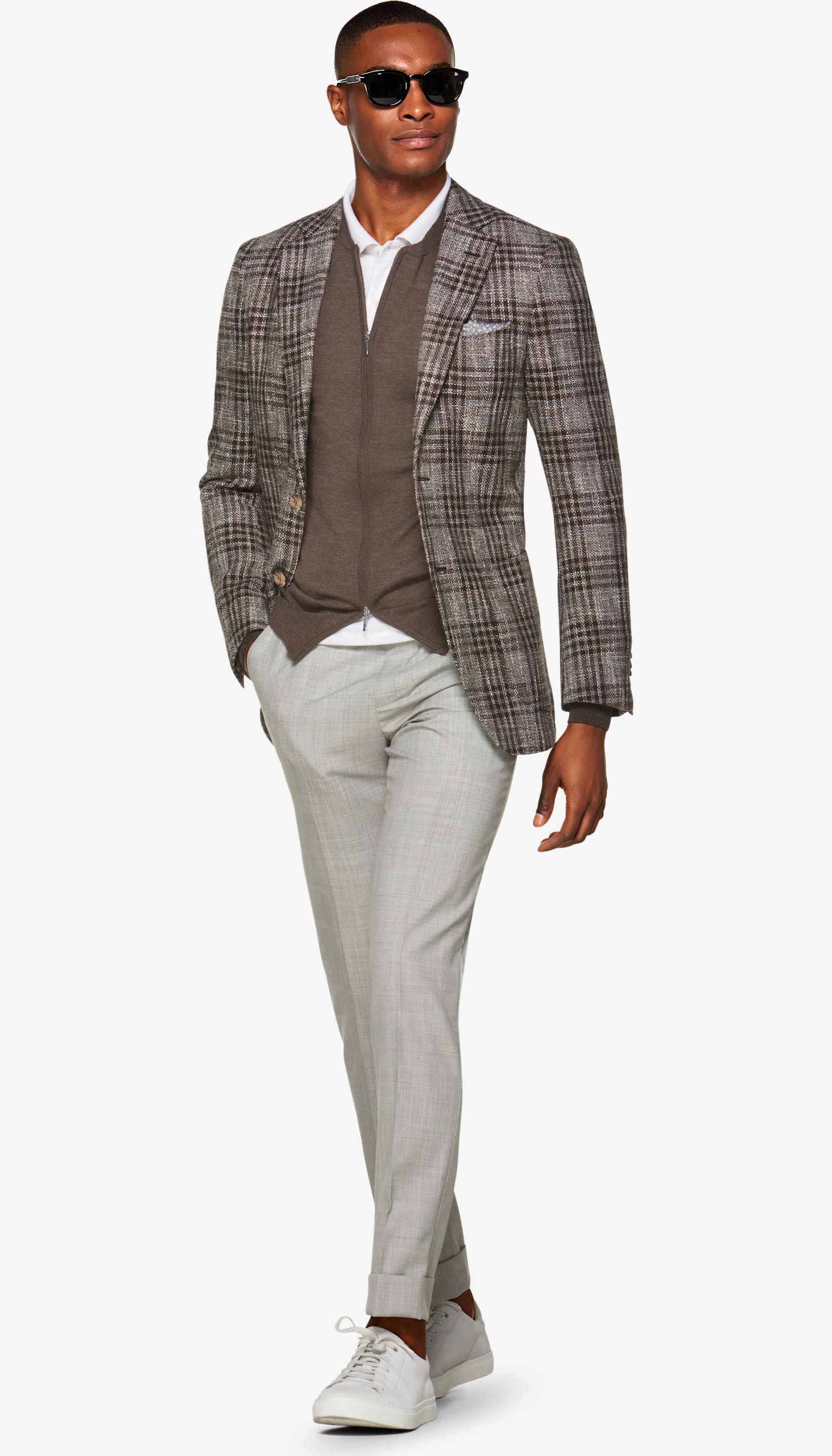 Havana Brown Check Jacket - Suit Supply crushes it with a wool, linen, and cotton blend.