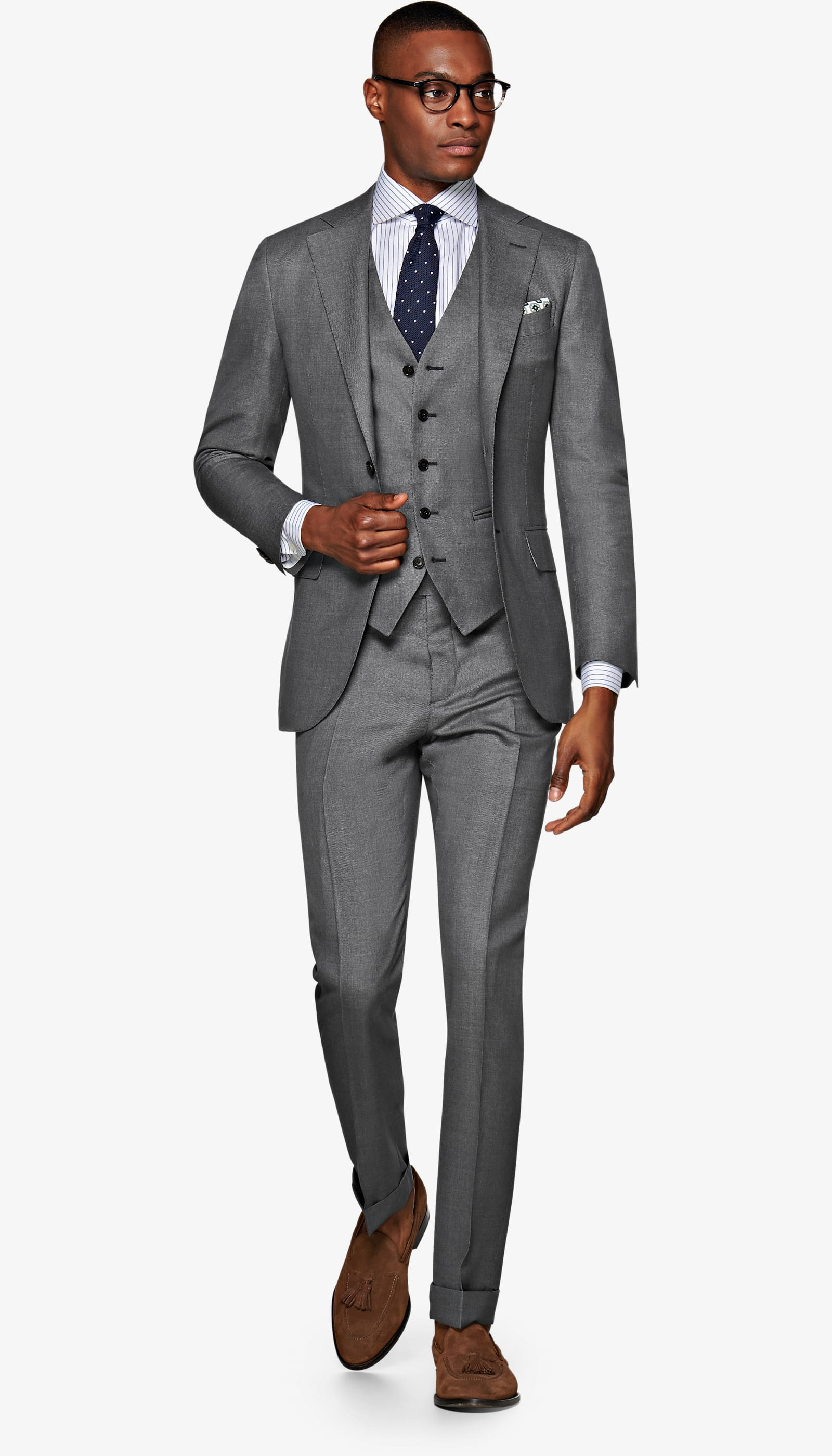 Suit Supply Jort Grey Bird's Eye Suit - A wool-silk blend 3-piece that is all baller and comes with a vest that can be worn with or without the jacket. This is the impact suit.