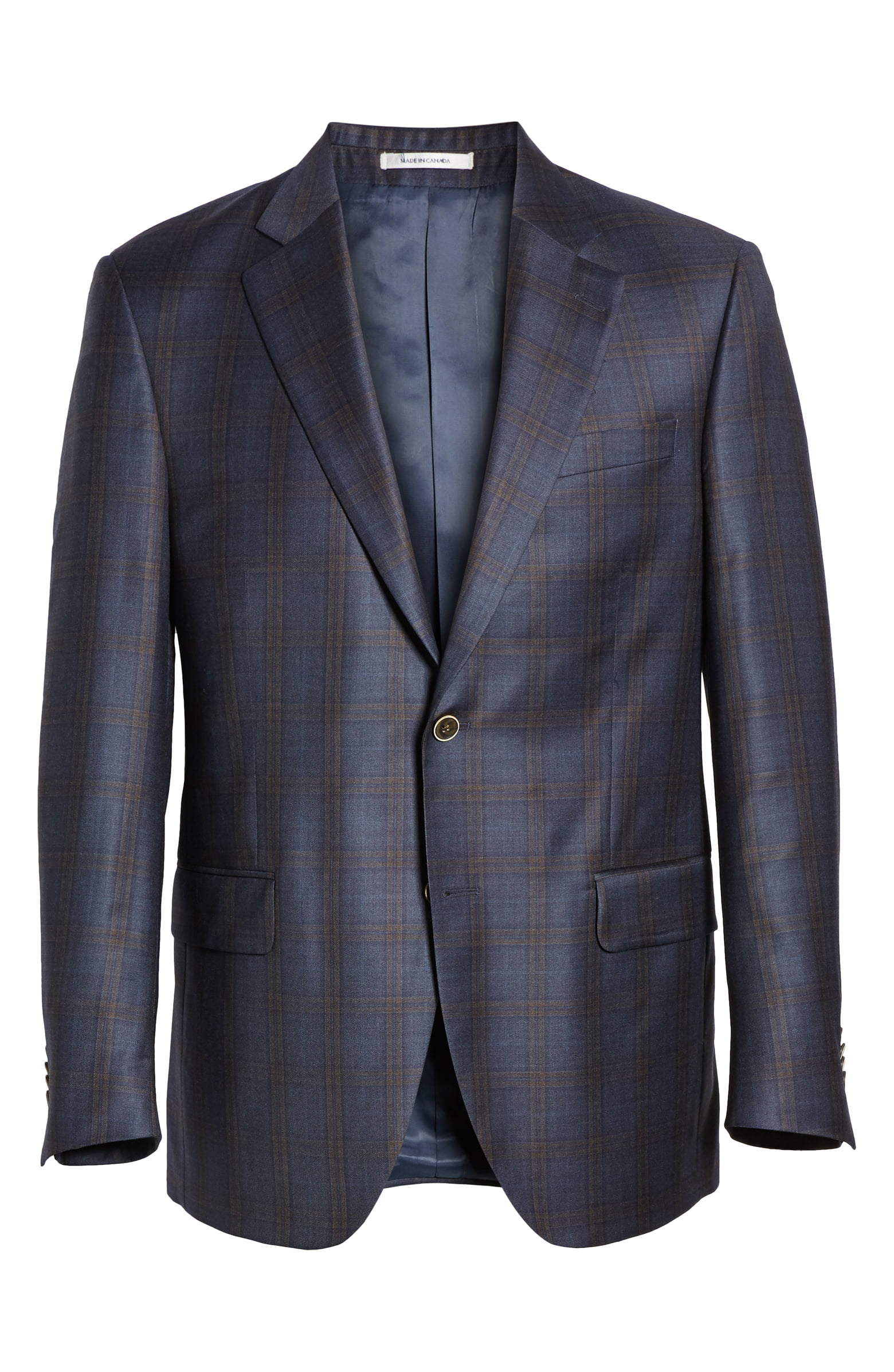 Flynn Plaid Wool Sport Coat - Peter Millar provides a high-class navy blazer with a pattern to elevate your aesthetic.