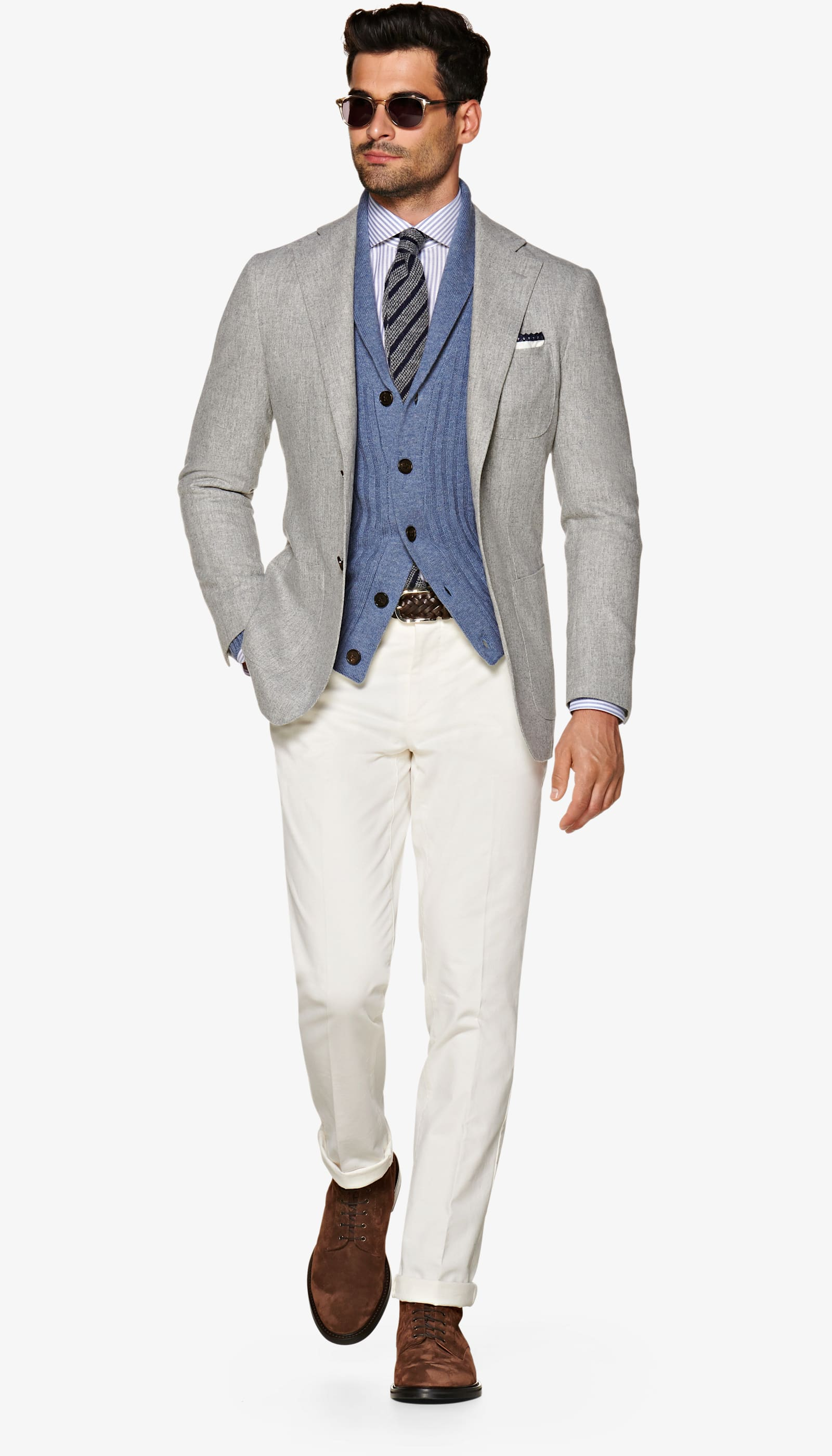 Havana Light Grey Jacket - Suit Supply makes a mean blazer. The light grey is a perfect addition to your closet that goes with everything and can be worn with more casual get-up too.