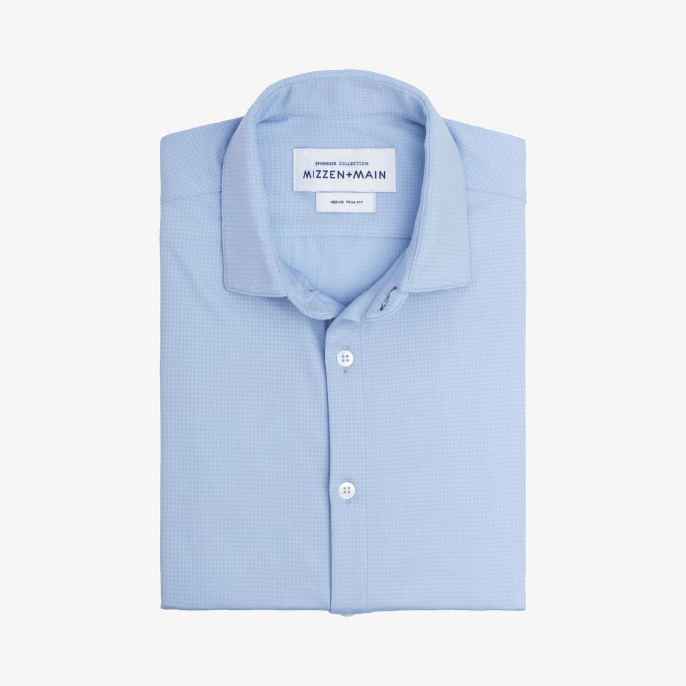 Emerson Dress Shirt - Mizzen + Main's textured light blue shirt is a closet standard to stand out