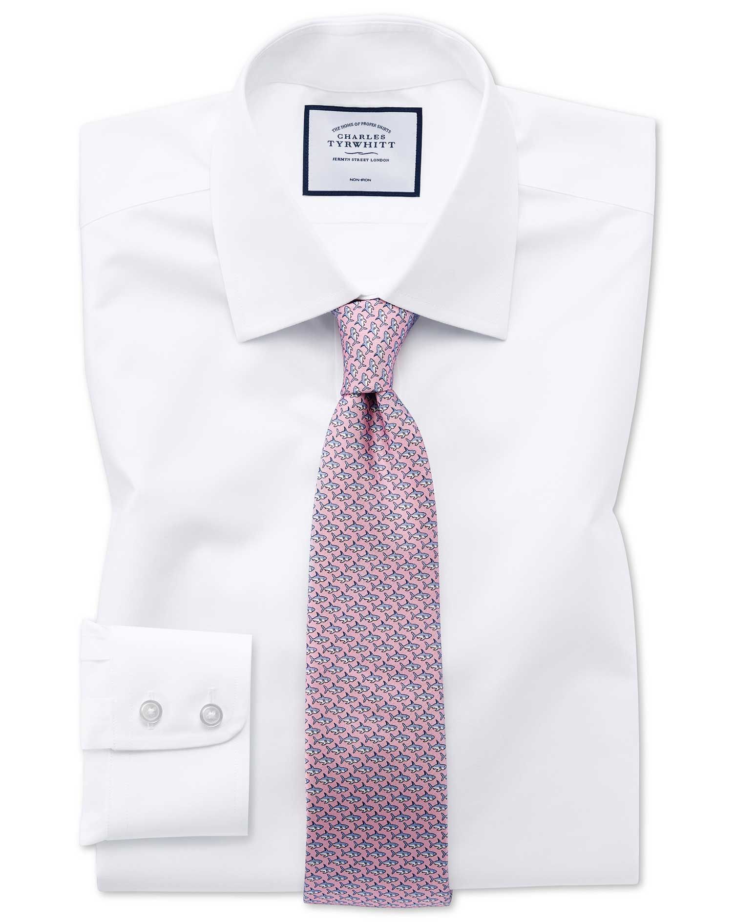 Slim Fit Non-Iron Poplin Shirt - Charles Tyrwhitt. You just have to scare this shirt with an iron to get the wrinkles out