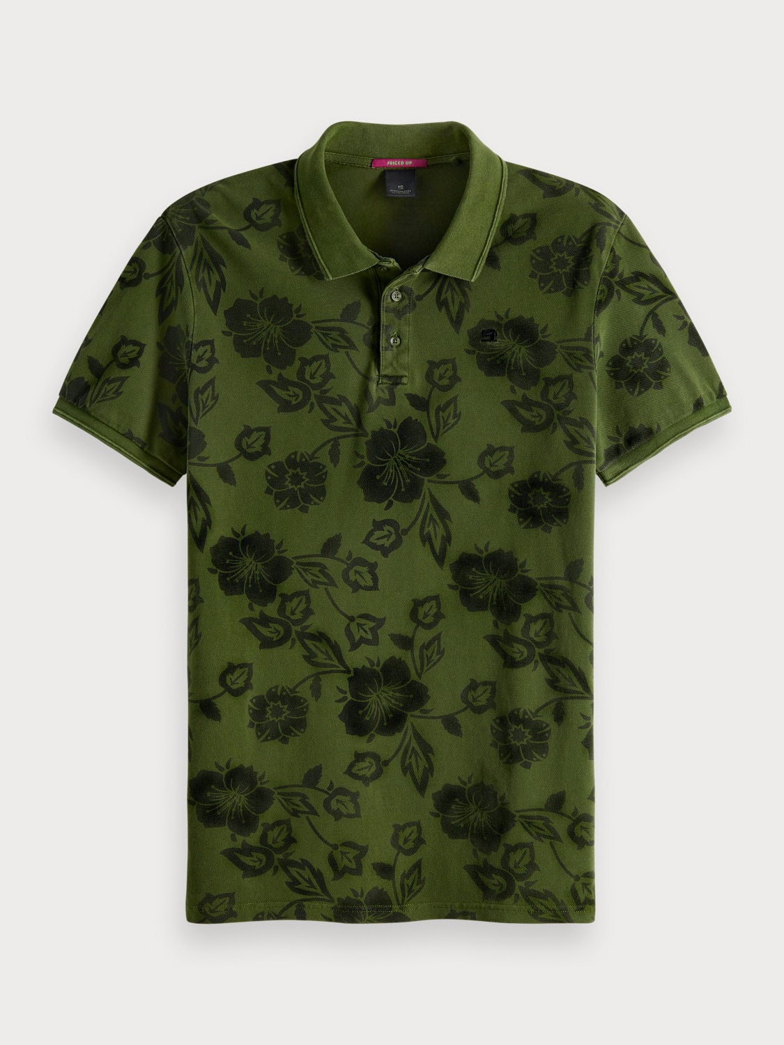 scotch and soda pique polo - green floral.jpg