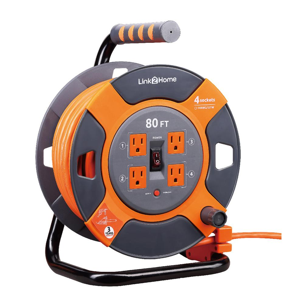 Link2Home Power Cord Reel - A must have for the handy Dad. This 80ft cord reel makes home improvement work set-up and clean-up super easy. It has 4 grounded outlets, a thermal auto shutoff and is designed to be super easy to reel up, carry, and stow.