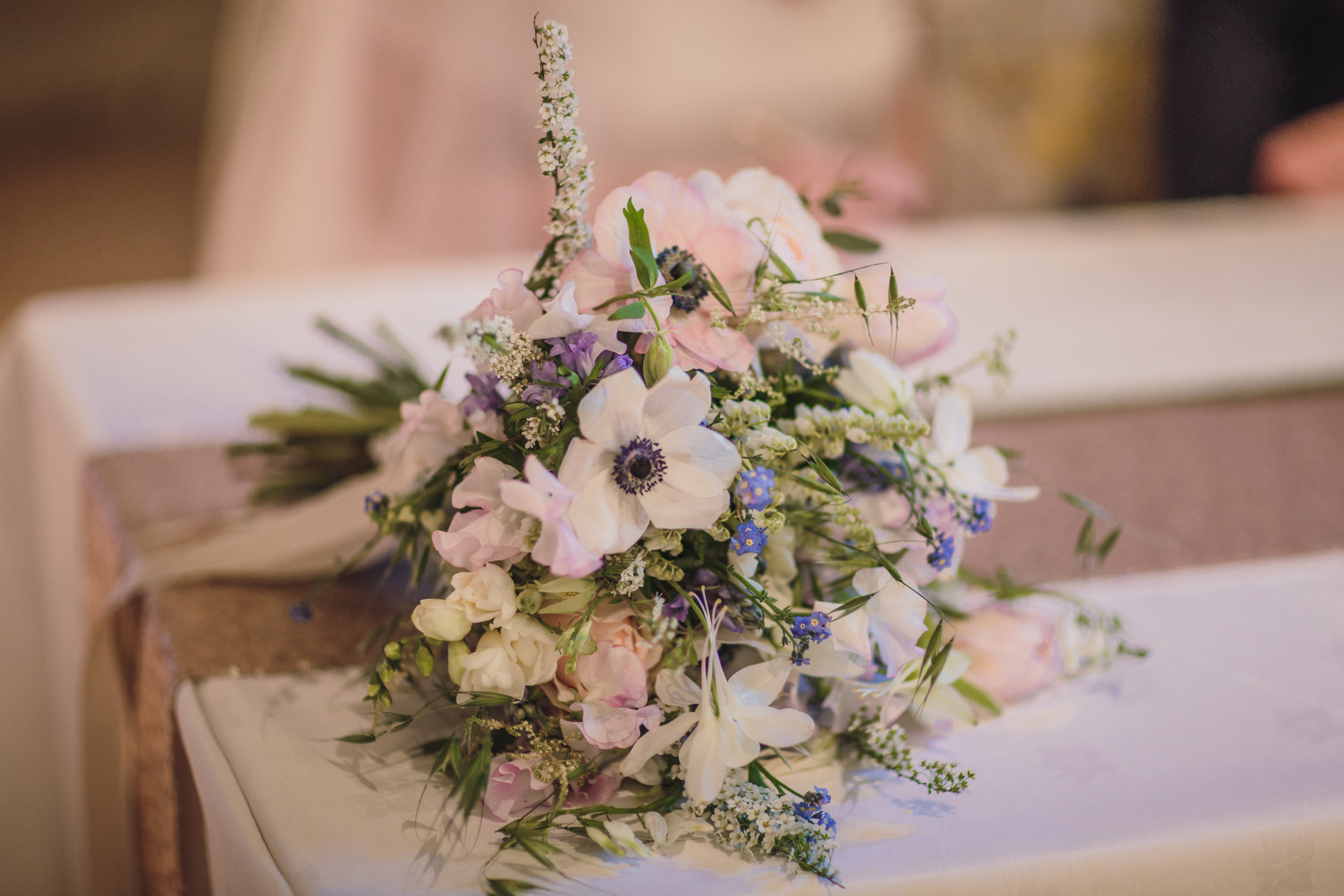 One from April Melissa's gorgeous bouquet with lots of spirea and forget me not. Textural and heavenly scented.