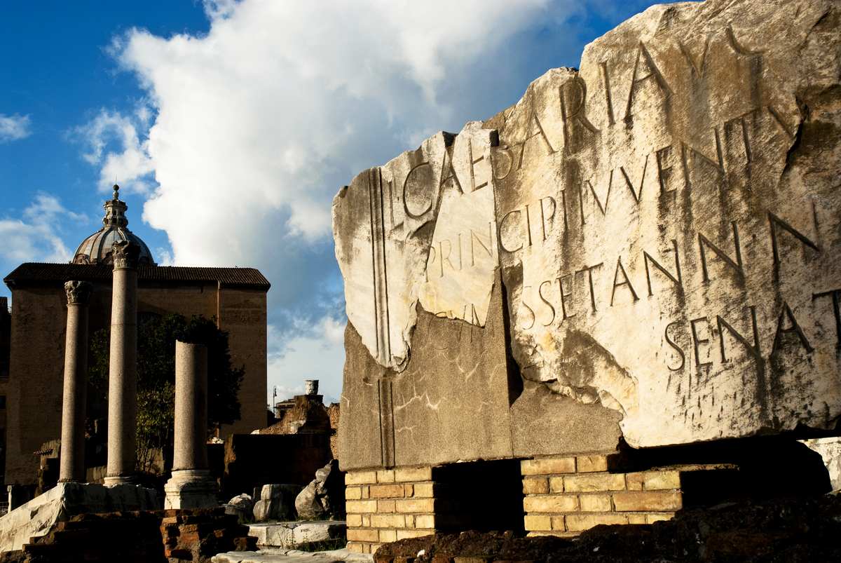 Latin inscriptions in the Roman Forum, Rome, Itlay