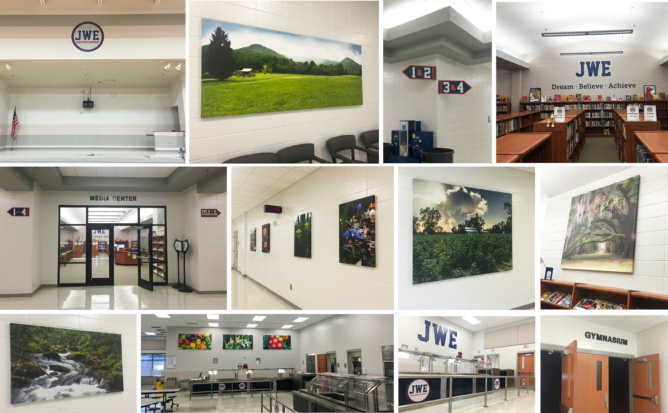 Jones-Wheat Elementary-Logo, Signage, Photography (3), Printing, Installation