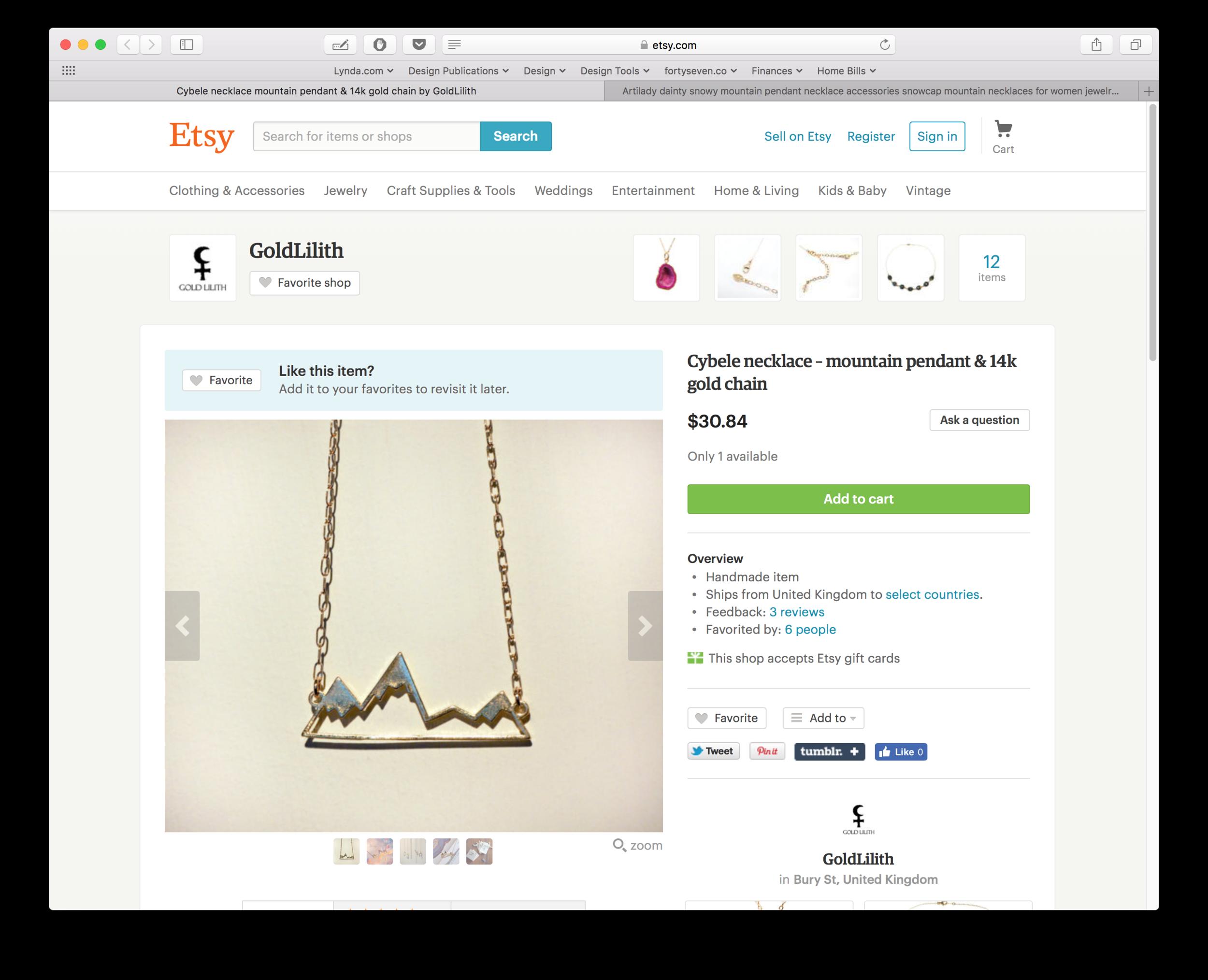 """""""Handmade item"""" on Etsy for $30."""