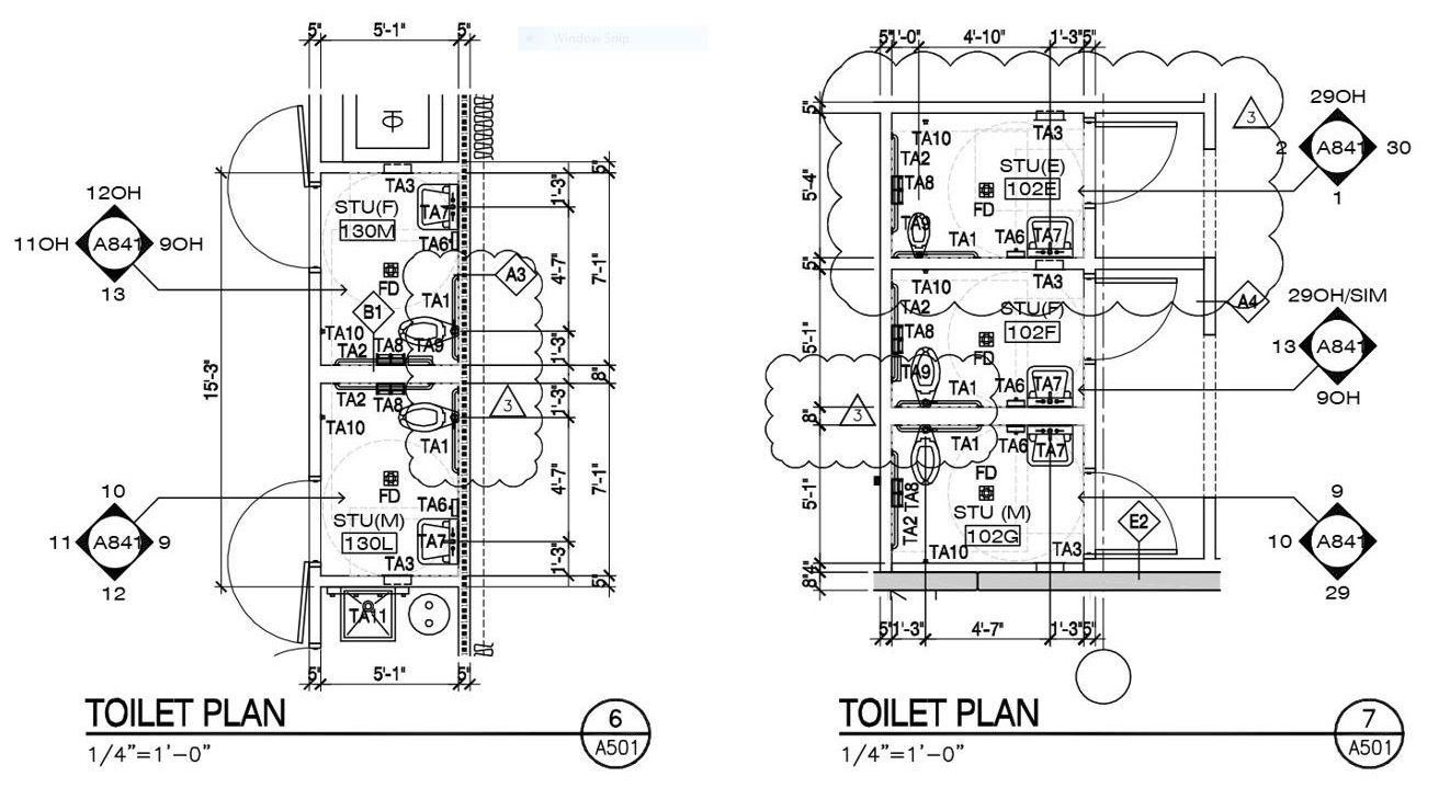 A good example of how restrooms are documented by many firms.