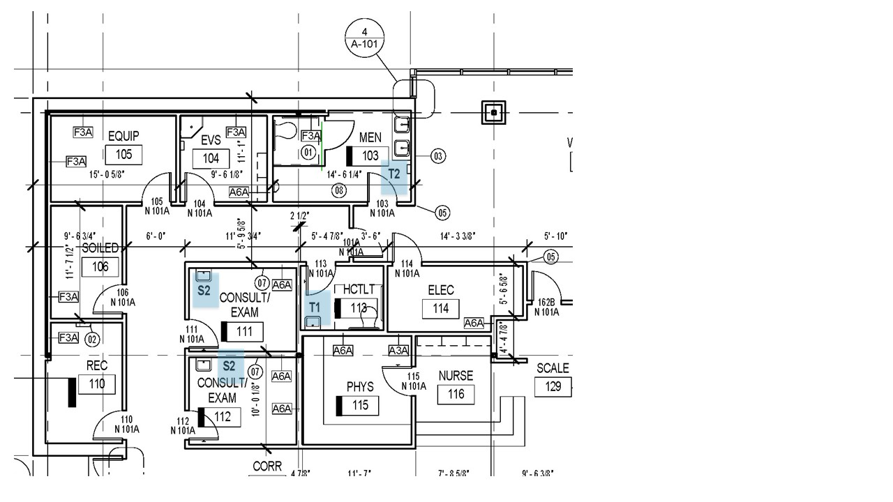 "1/8"" scale Floor Plan with Tags at enlarged plans to simplify documentation"