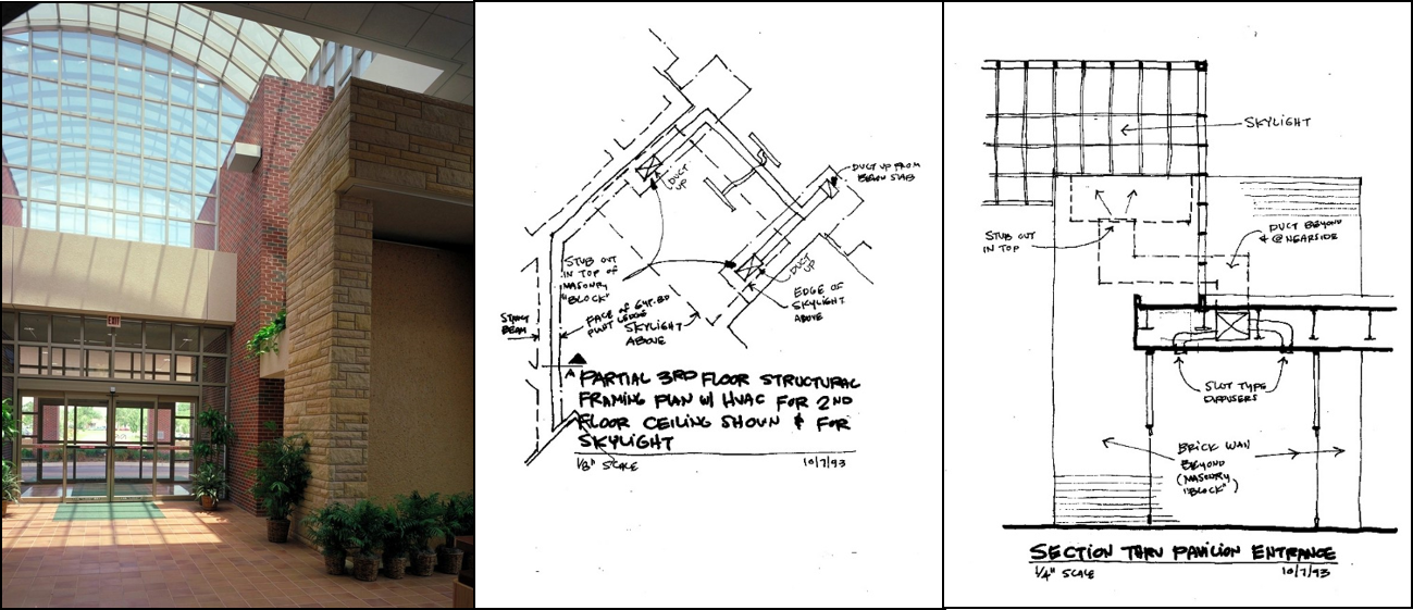 Finished space with sketches used to determine duct runs. Goal - provide sufficient supply air up into the Atrium space, but not see grilles. Return air was was addressed through a duct that extended up through the waterwall feature on the right of the picture. Again, nothing seen.