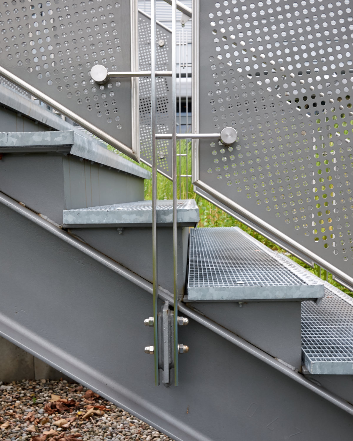 Detail of exterior stair at the Opel Design Center in Russelsheim, Germany