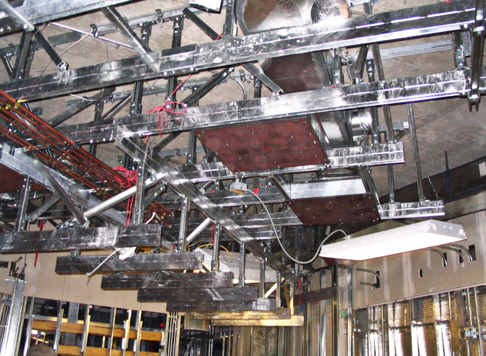 Above ceiling construction for a Hybrid operating room. The value of the equipment being installed exceeded the construction cost!