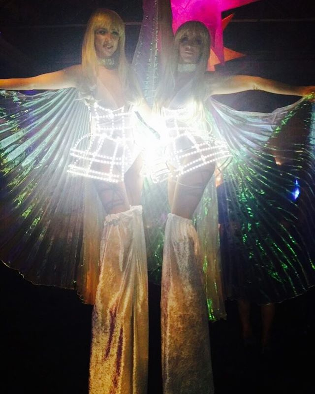 Glowing stilt walkers for an event at Old Billingsgate last night #oldbillingsgate #stiltwalkers #led #stilts #jet2holidays