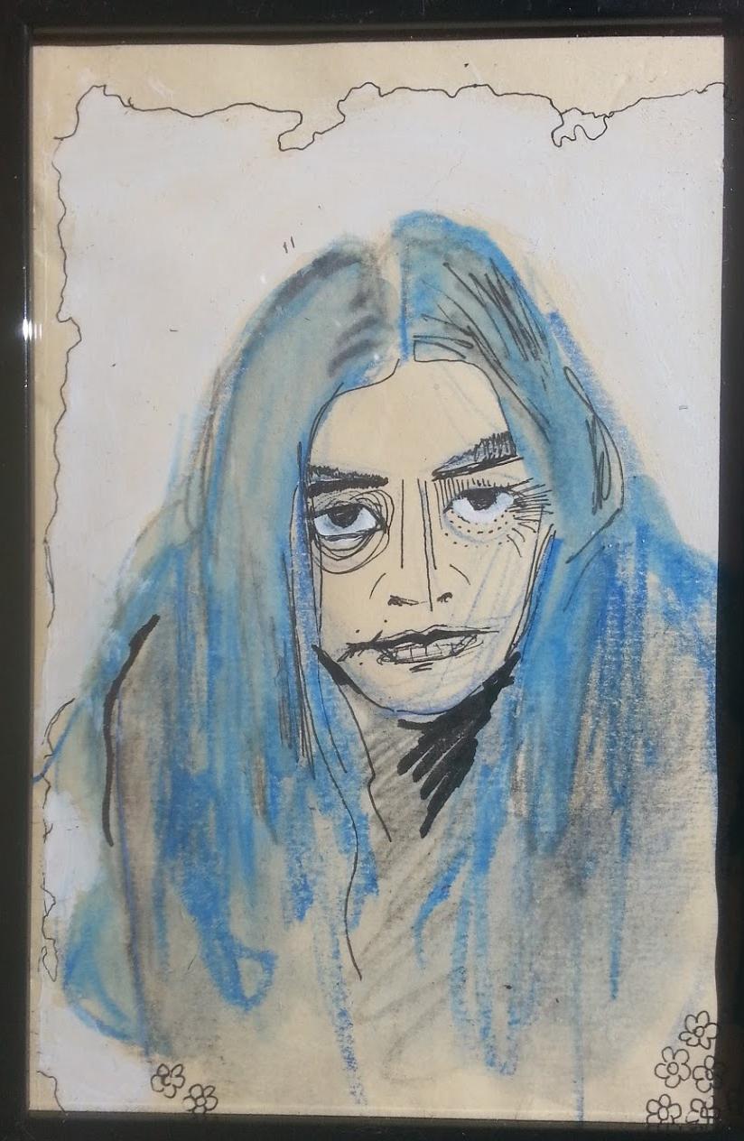 Watercolor, acrylic, & pen on paper