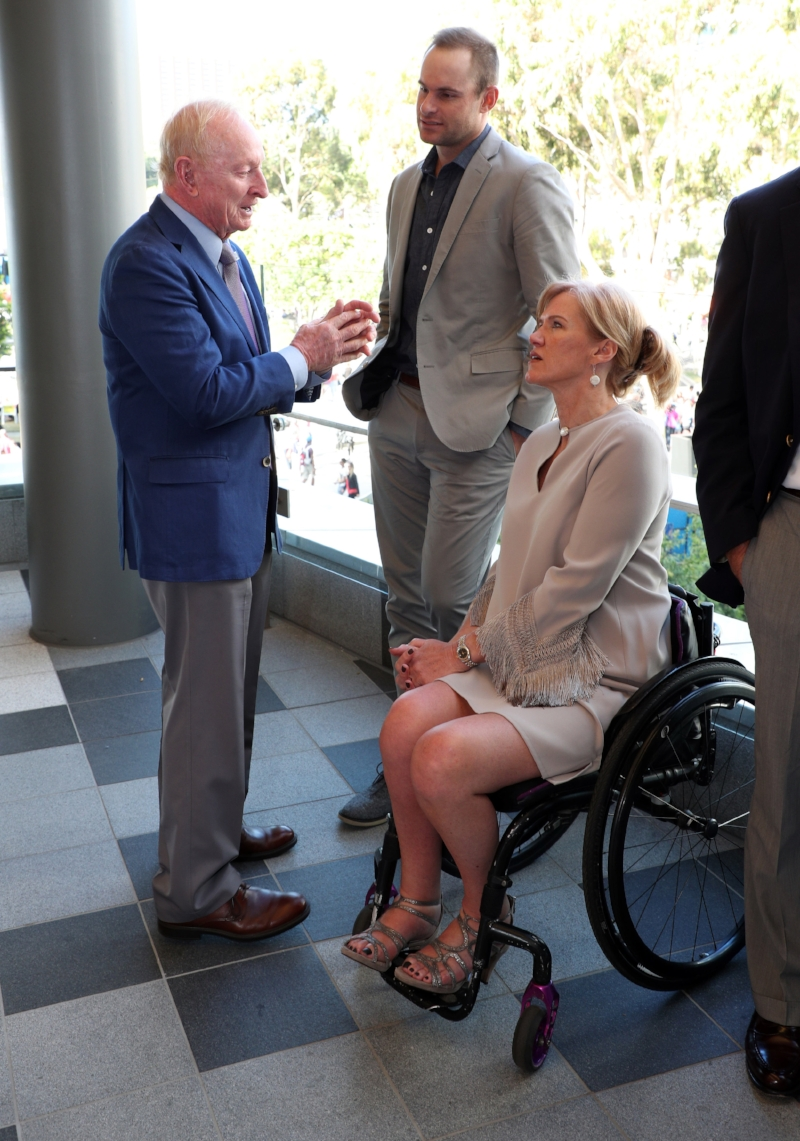 International Tennis Hall of Fame inductees Andy Roddick, Monique Kalkman and Australian star and Hall of Famer Rod Laver. Photo by Ron Angle.