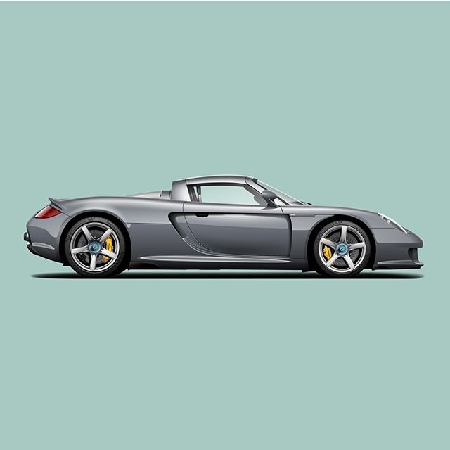 Finally got around to doing a proper render of my favorite car, the Carrera GT. Although Seal Grey would not be my first choice of color for the GT, it definitely wears the color well. #carreragt #vectorart #automotiveart #type7 #cardrawing