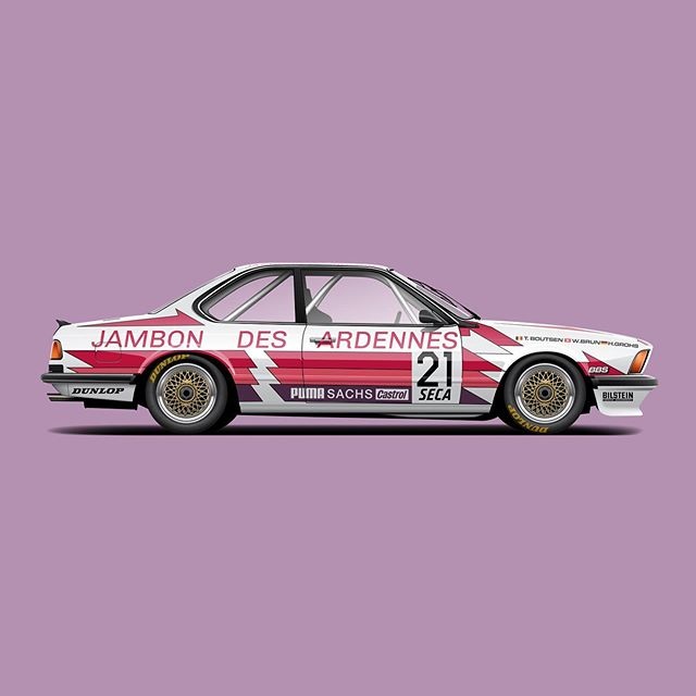 Doing a deep dive into classic motorsport and realizing just how many great liveries there are, like this e24. The colors, the layout, it's all so good. #bmw #e24 #bmwe24 #635csi #bmwmotorsport #livery #automotiveart #cardrawing